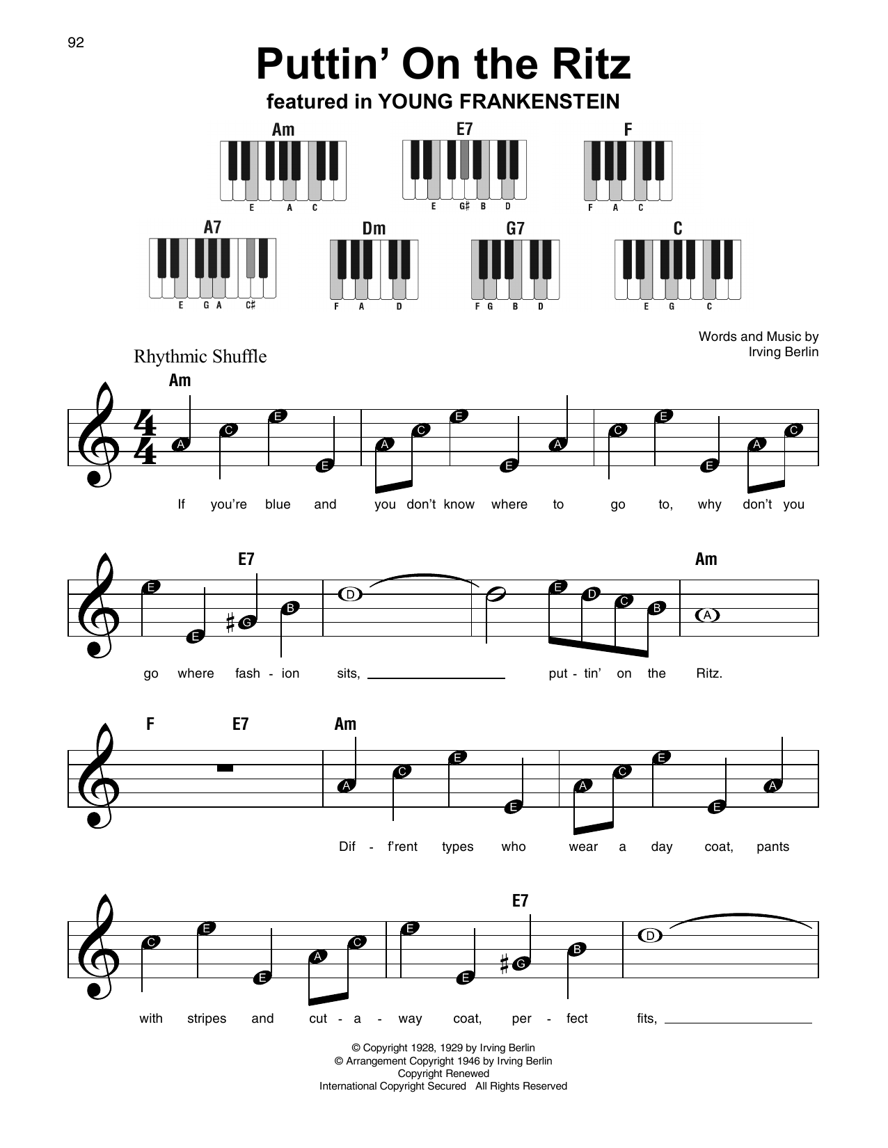Puttin' On The Ritz (Super Easy Piano)