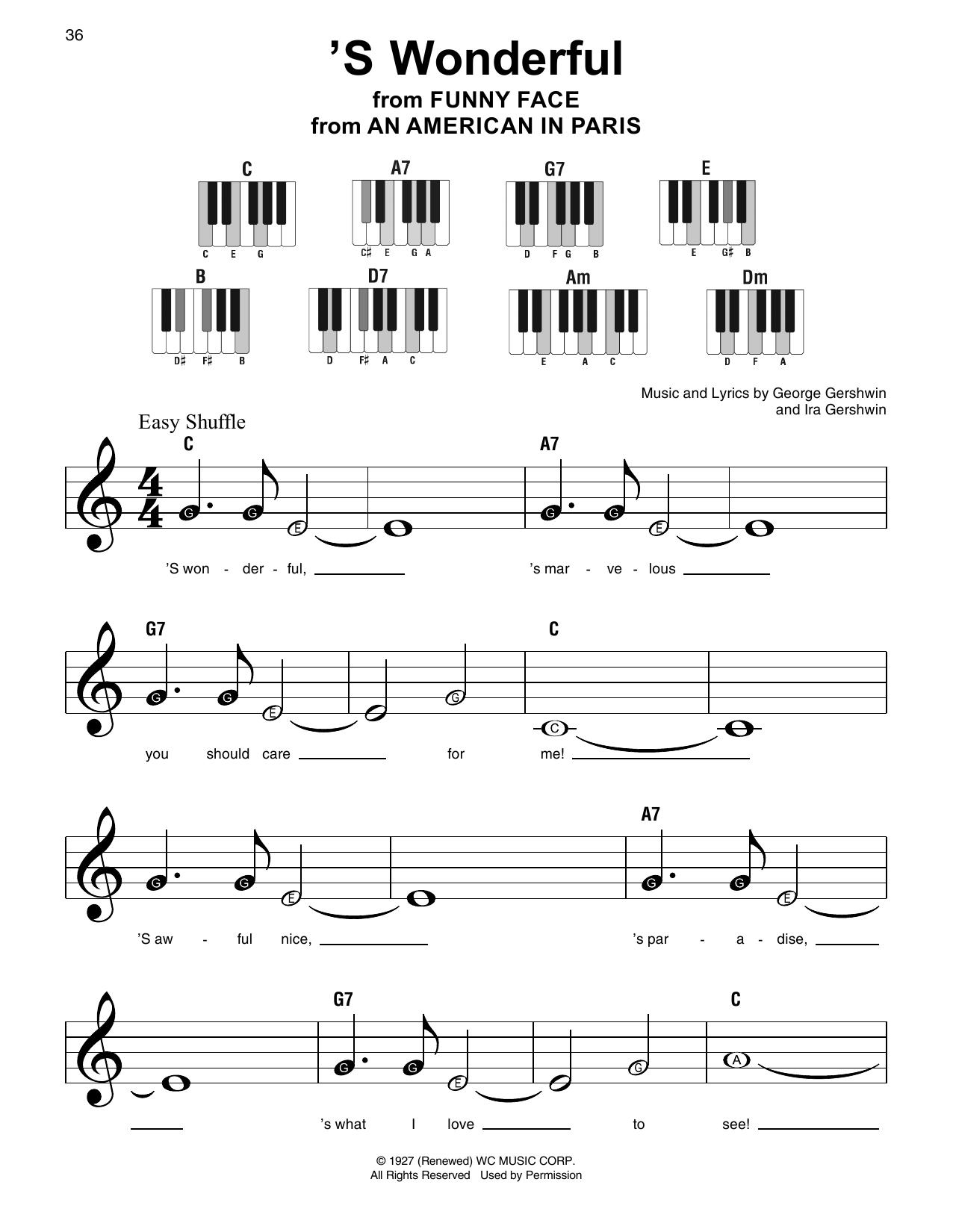 'S Wonderful (Super Easy Piano)