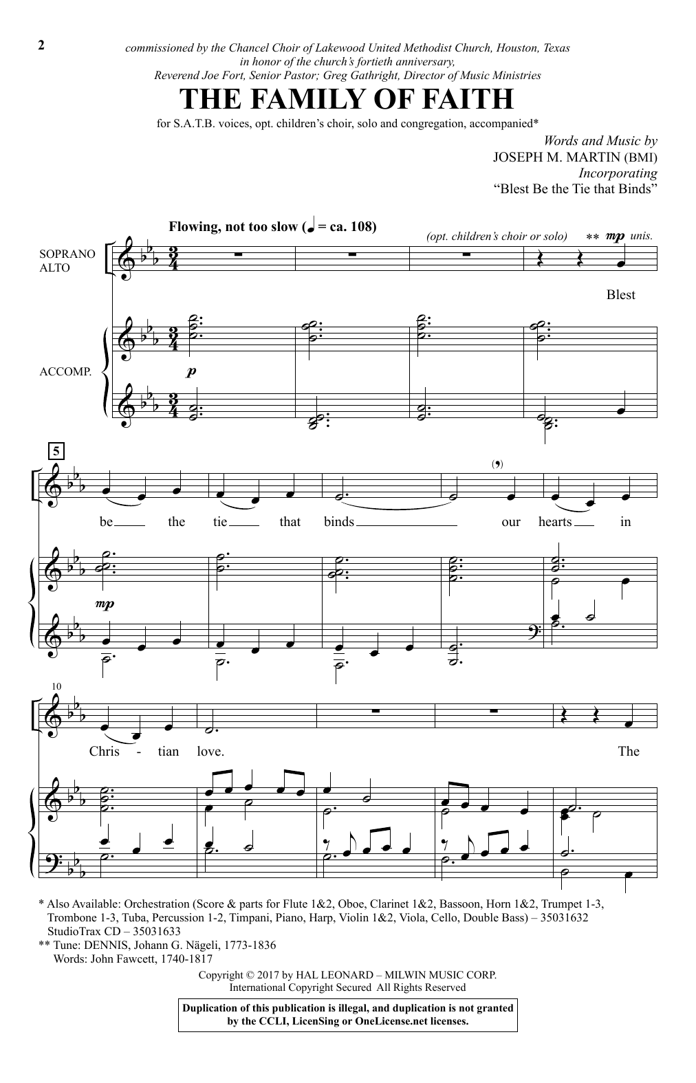 Partition chorale Family Of Faith de Joseph M. Martin - SATB