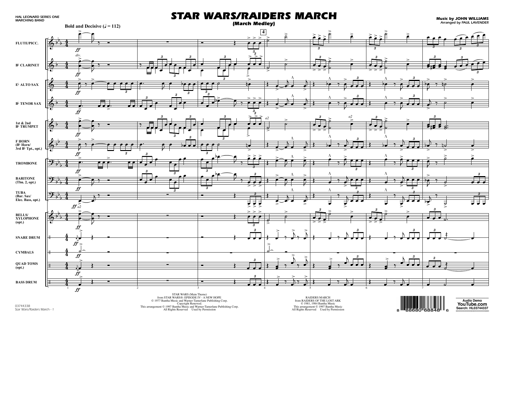 Star Wars/Raiders March - Full Score Partituras Digitales