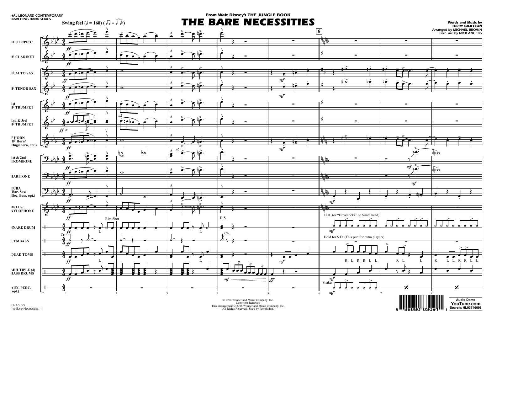 The Bare Necessities (from The Jungle Book) - Conductor Score (Full Score) Sheet Music