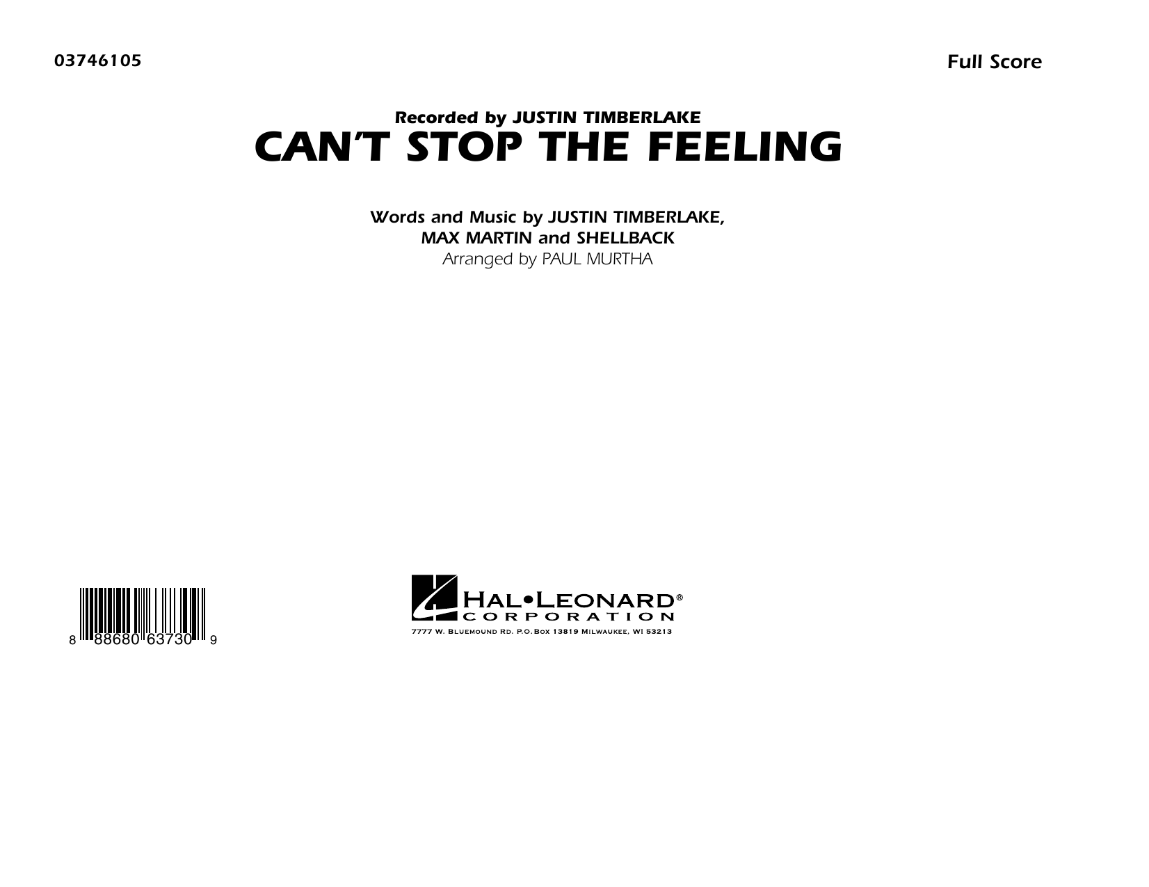 Can't Stop the Feeling (from Trolls) - Conductor Score (Full Score) Sheet Music