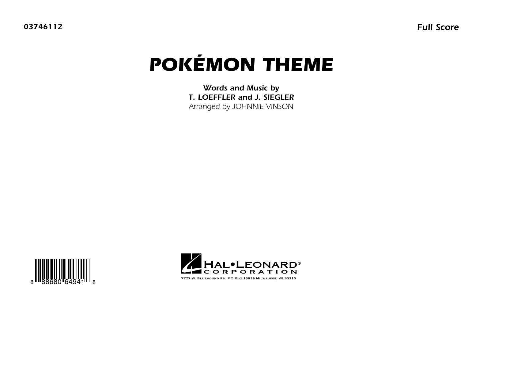 Pokémon Theme - Conductor Score (Full Score) Sheet Music