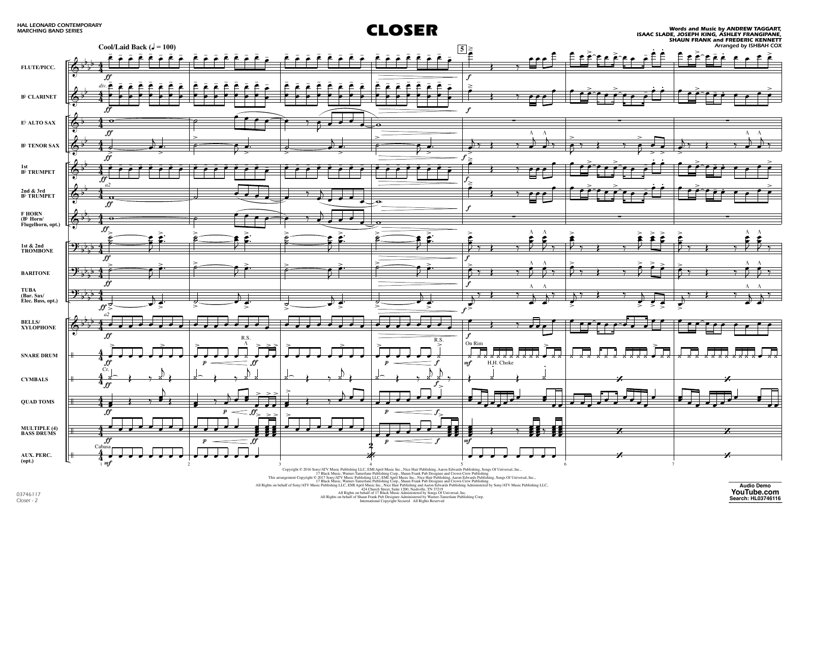 Closer - Conductor Score (Full Score) Sheet Music