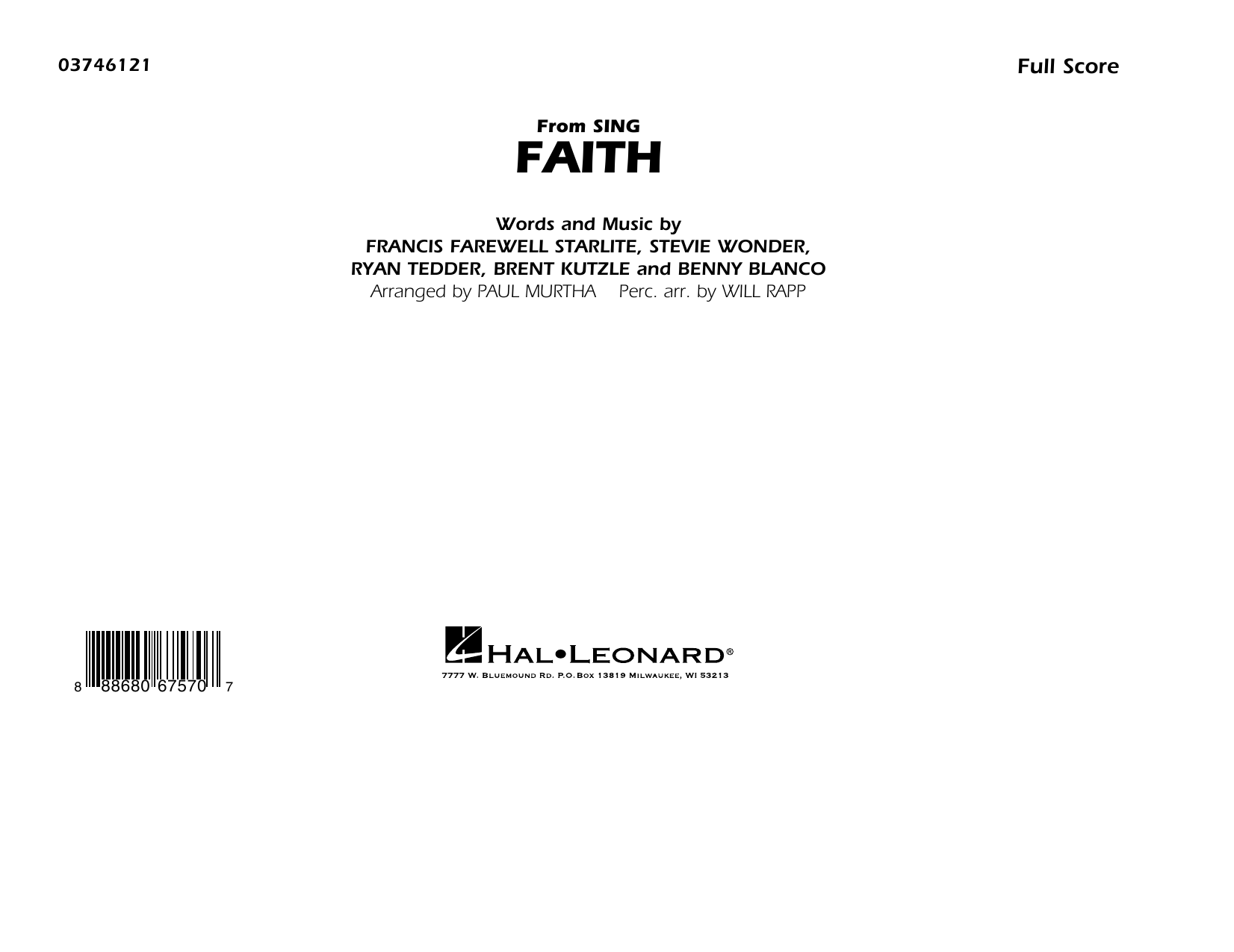 Faith (from Sing) - Conductor Score (Full Score) Sheet Music