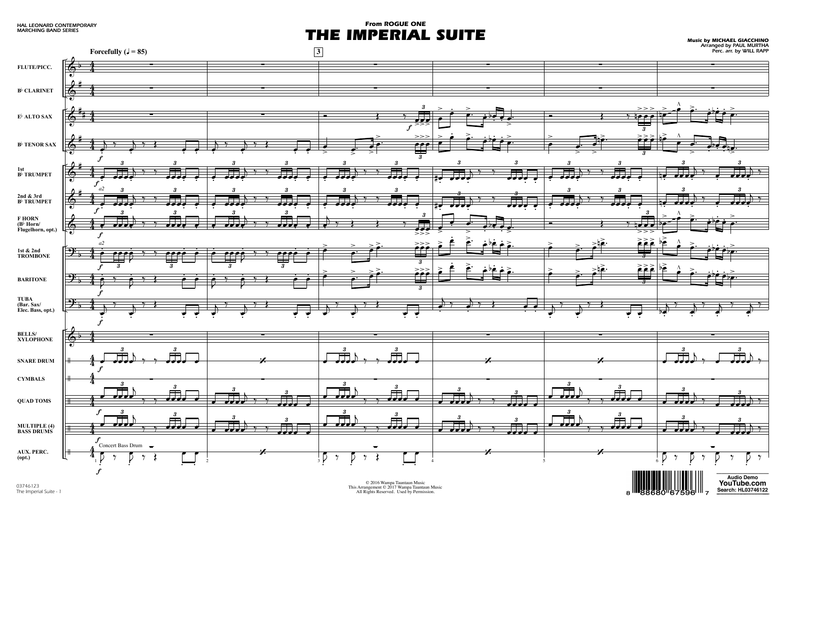 The Imperial Suite (from Rogue One: A Star Wars Story) (COMPLETE) sheet music for marching band by Paul Murtha, Michael Giacchino and Will Rapp. Score Image Preview.
