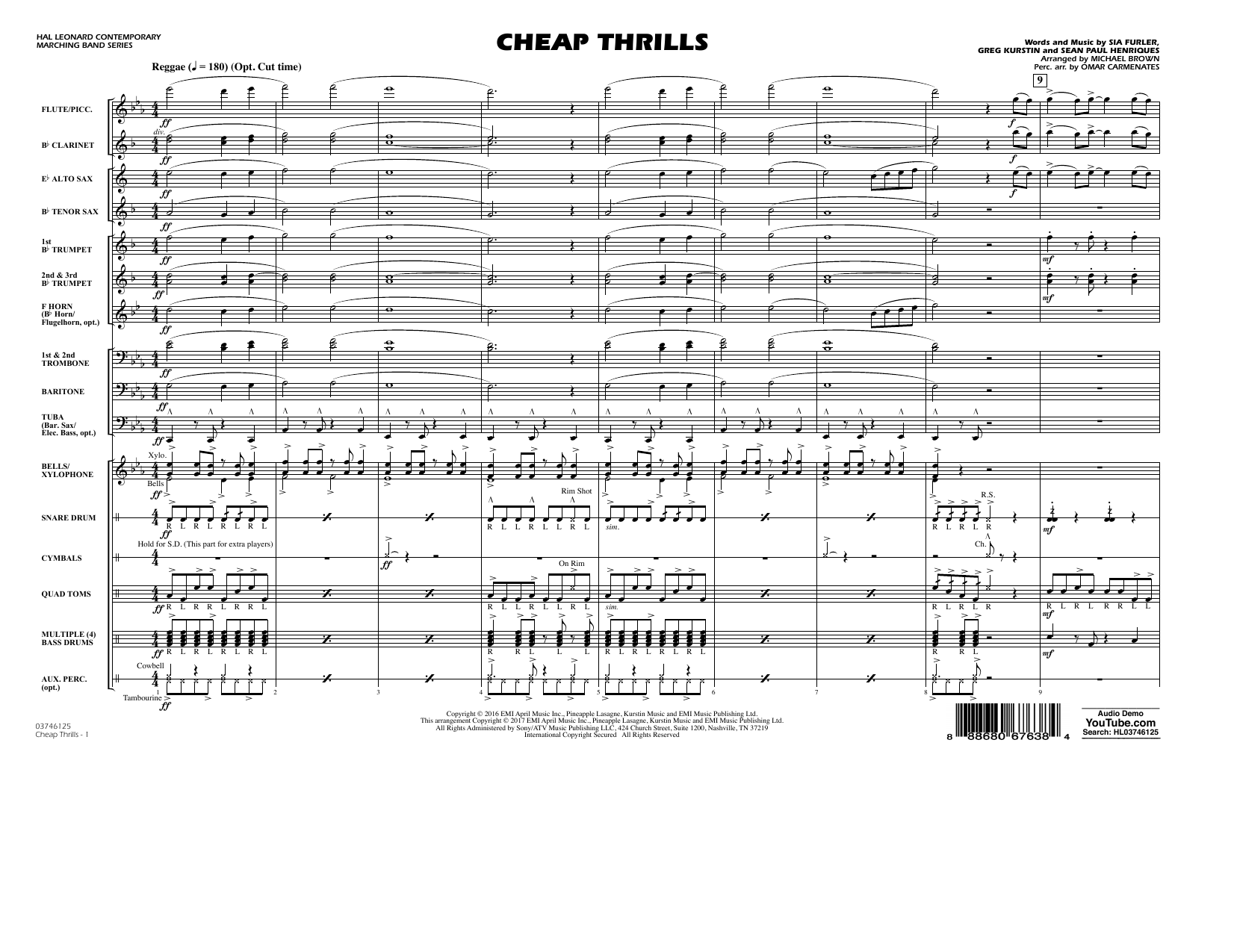 Cheap Thrills - Conductor Score (Full Score) Sheet Music