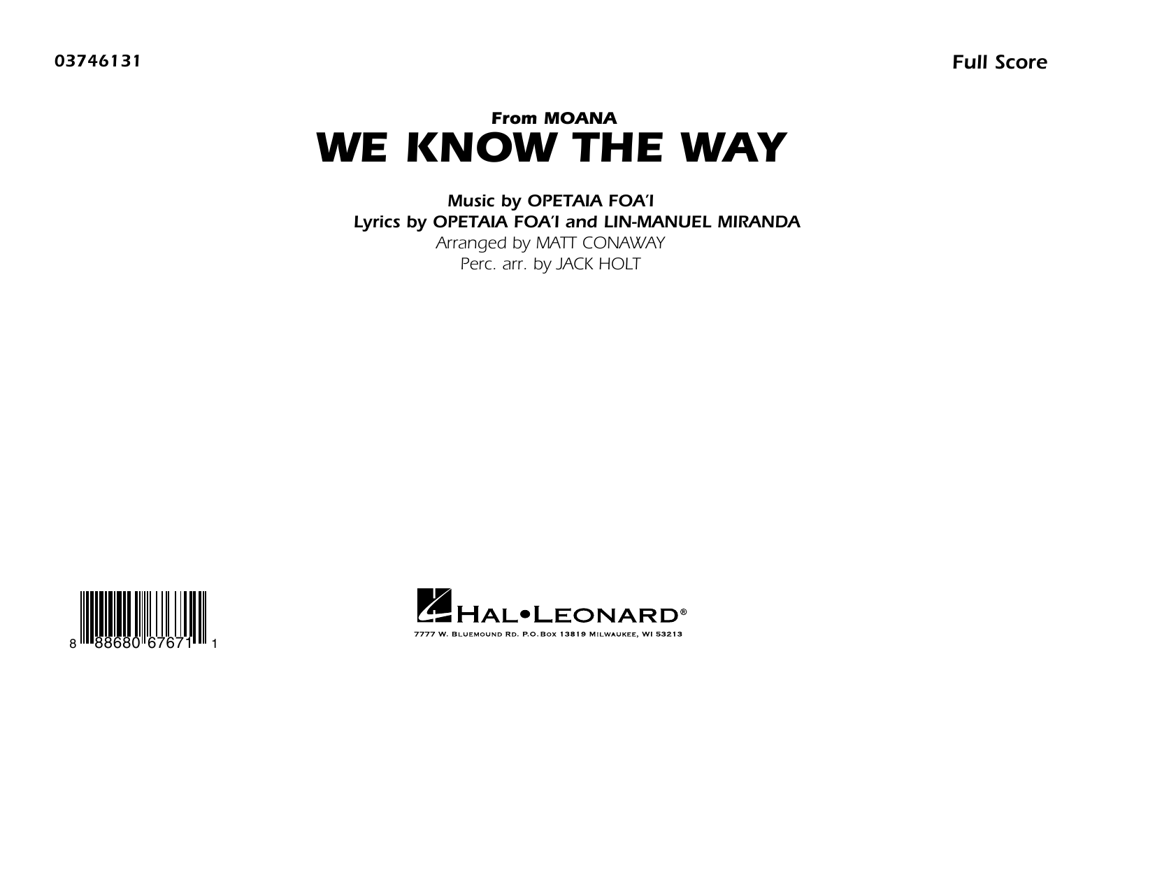 We Know the Way (from Moana) - Conductor Score (Full Score) Sheet Music