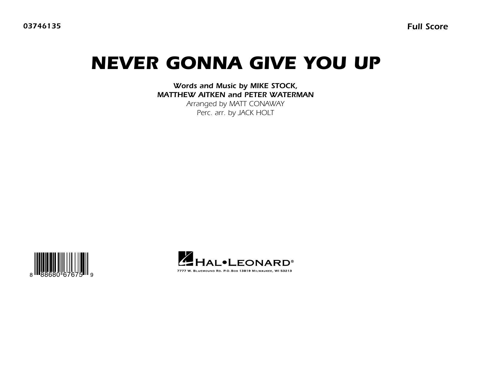 Never Gonna Give You Up - Conductor Score (Full Score) Sheet Music
