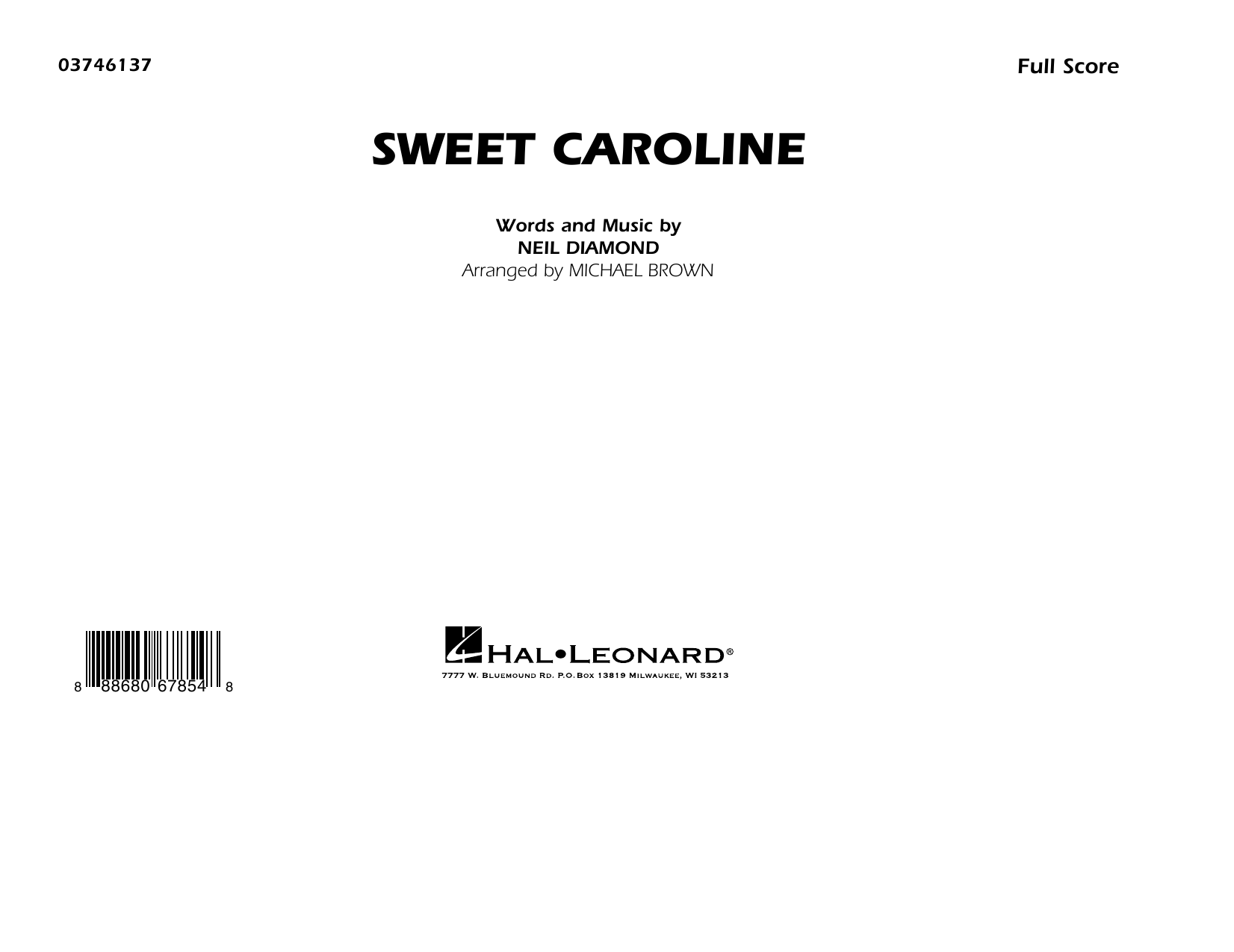 Sweet Caroline - Conductor Score (Full Score) Sheet Music