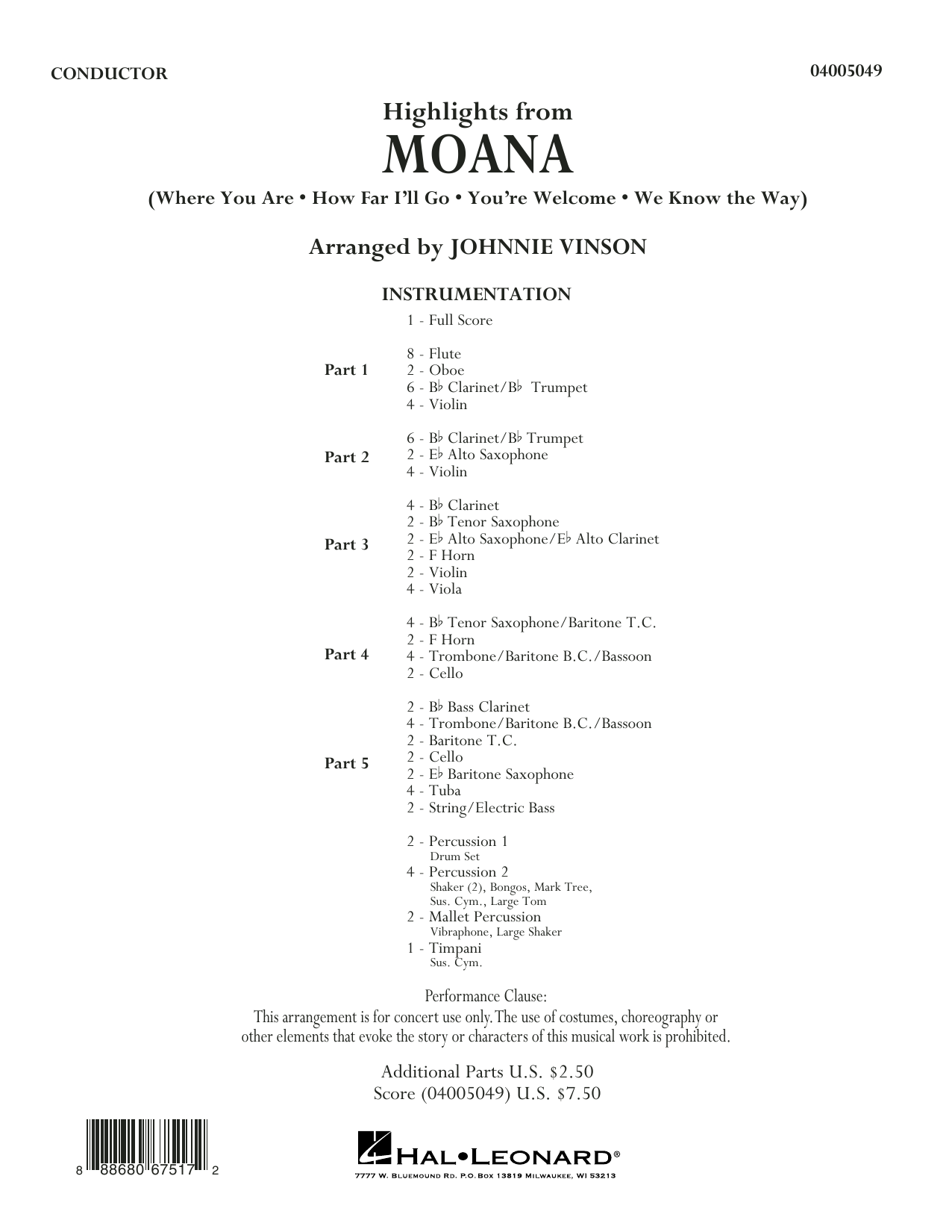 Highlights from Moana (COMPLETE) sheet music for concert band by Johnnie Vinson. Score Image Preview.
