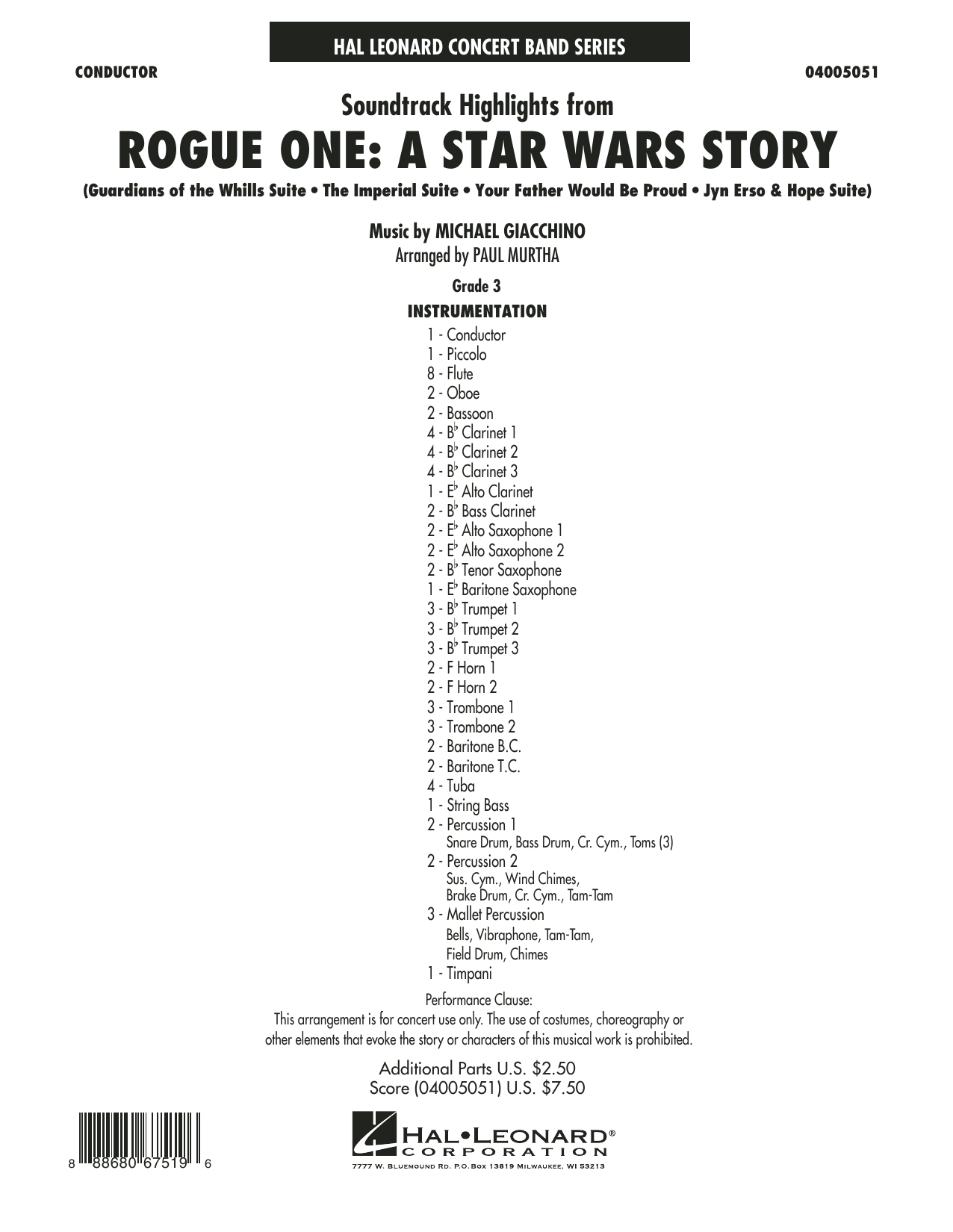 Rogue One: A Star Wars Story - Conductor Score (Full Score) Sheet Music