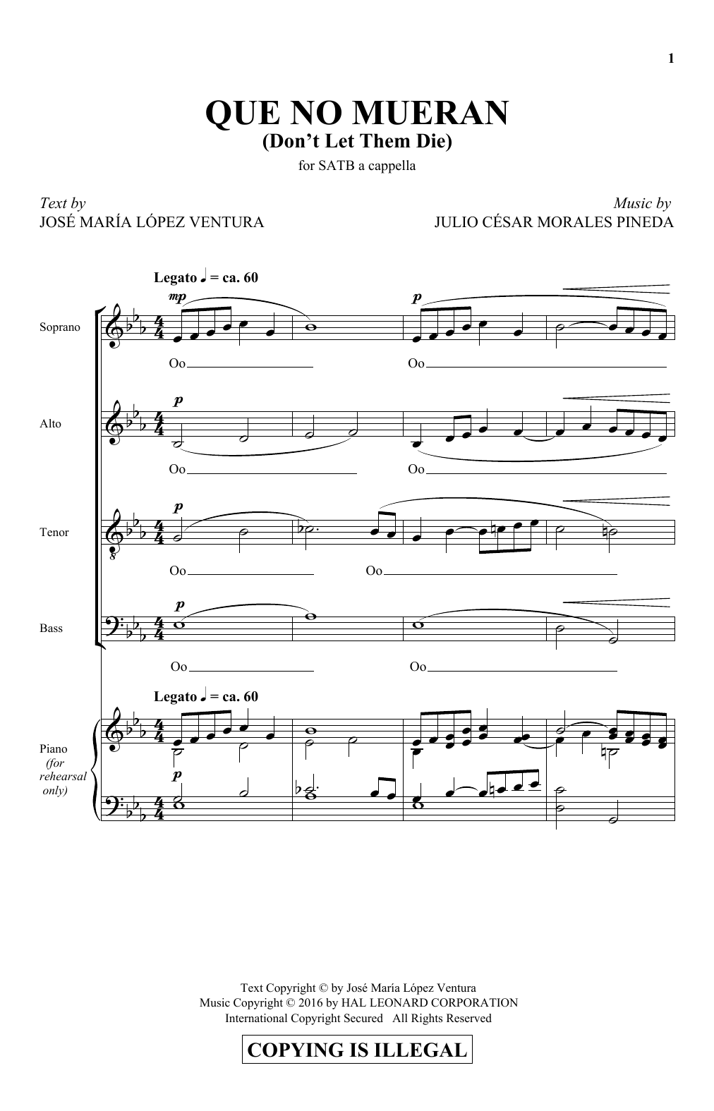Que No Mueran (Don't Let Them Die) (SATB Choir)