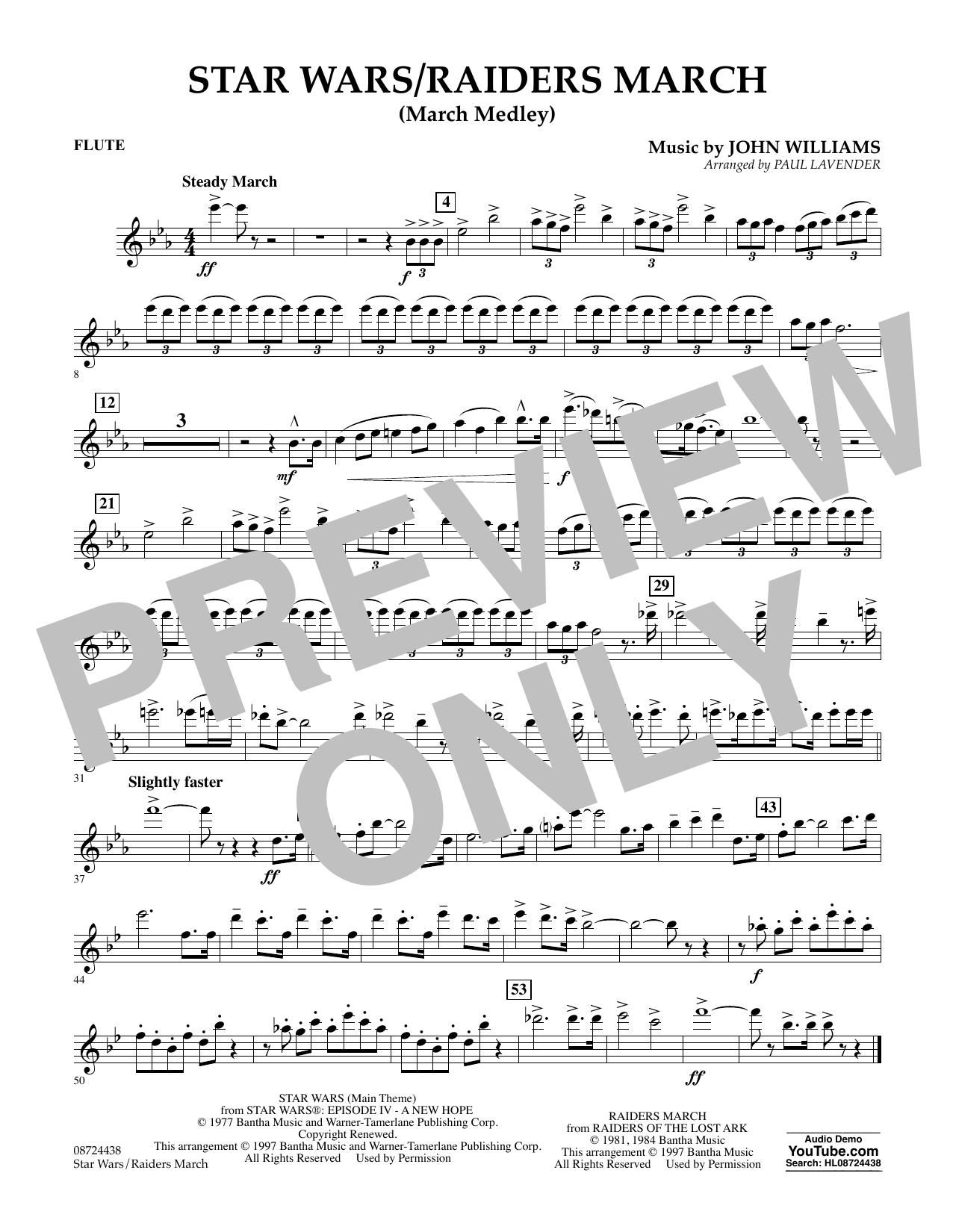 Star Wars/Raiders March - Flute Partition Digitale