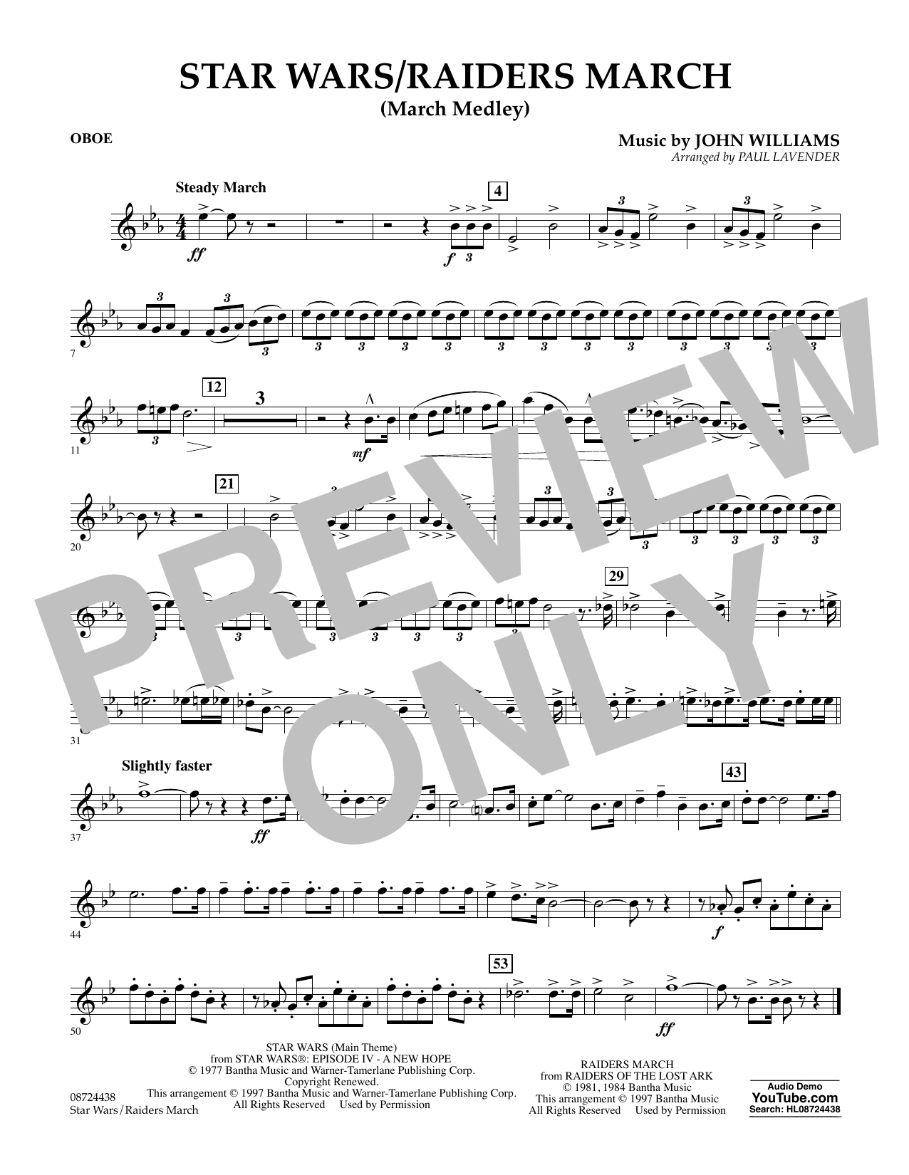 Star Wars/Raiders March - Oboe Sheet Music