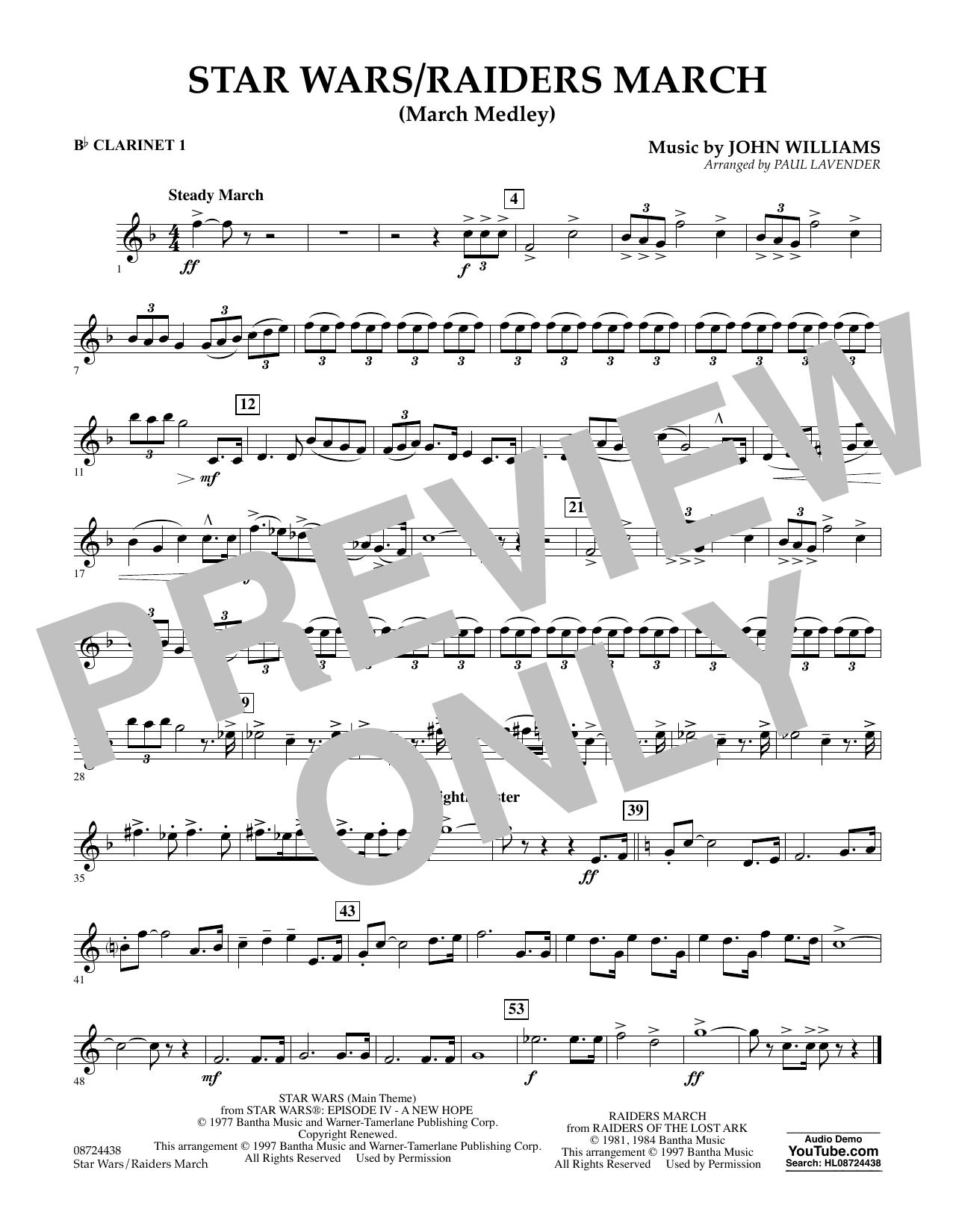 Star Wars/Raiders March - Bb Clarinet 1 (Concert Band)