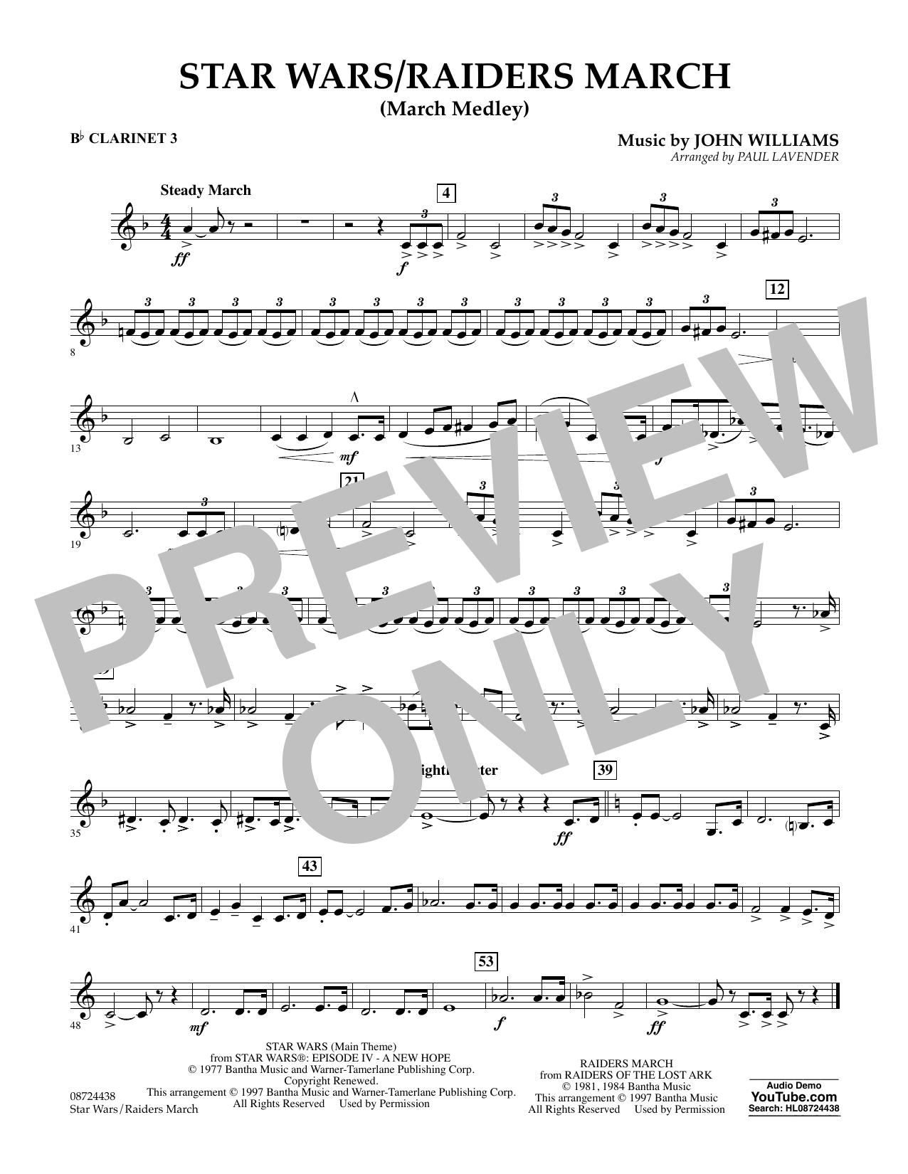 Star Wars/Raiders March - Bb Clarinet 3 Sheet Music