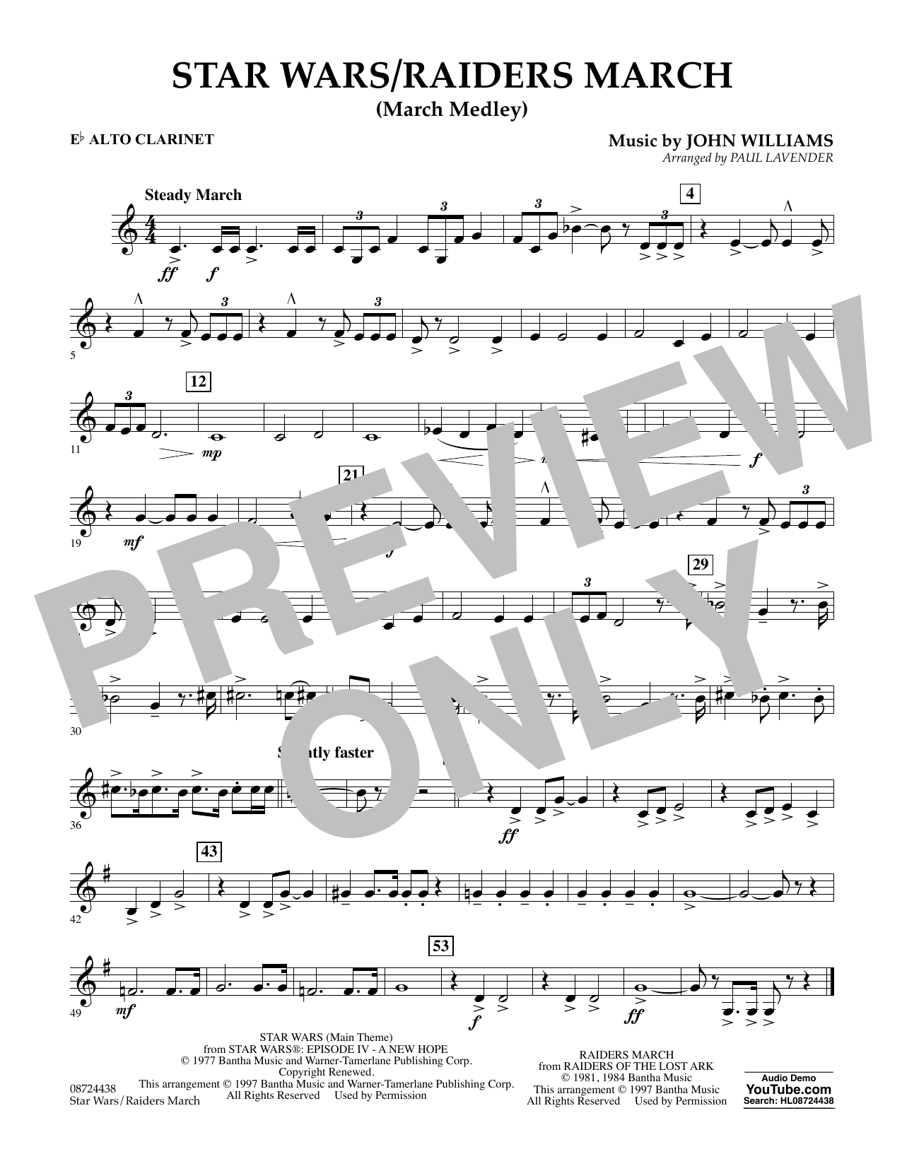 Star Wars/Raiders March - Eb Alto Clarinet Sheet Music