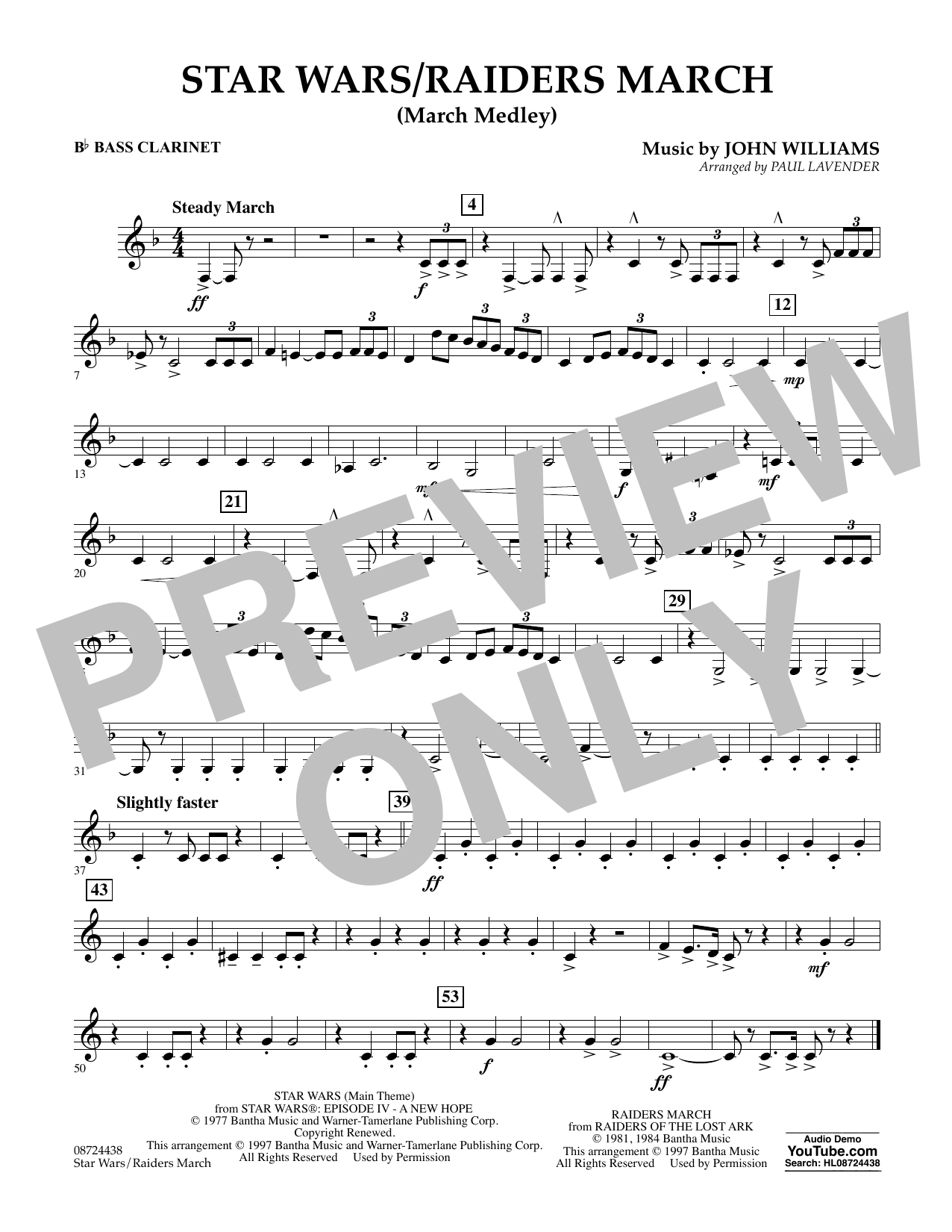 Star Wars/Raiders March - Bb Bass Clarinet Sheet Music