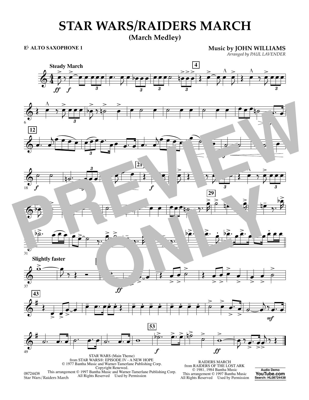 Star Wars/Raiders March - Eb Alto Saxophone 1 Sheet Music
