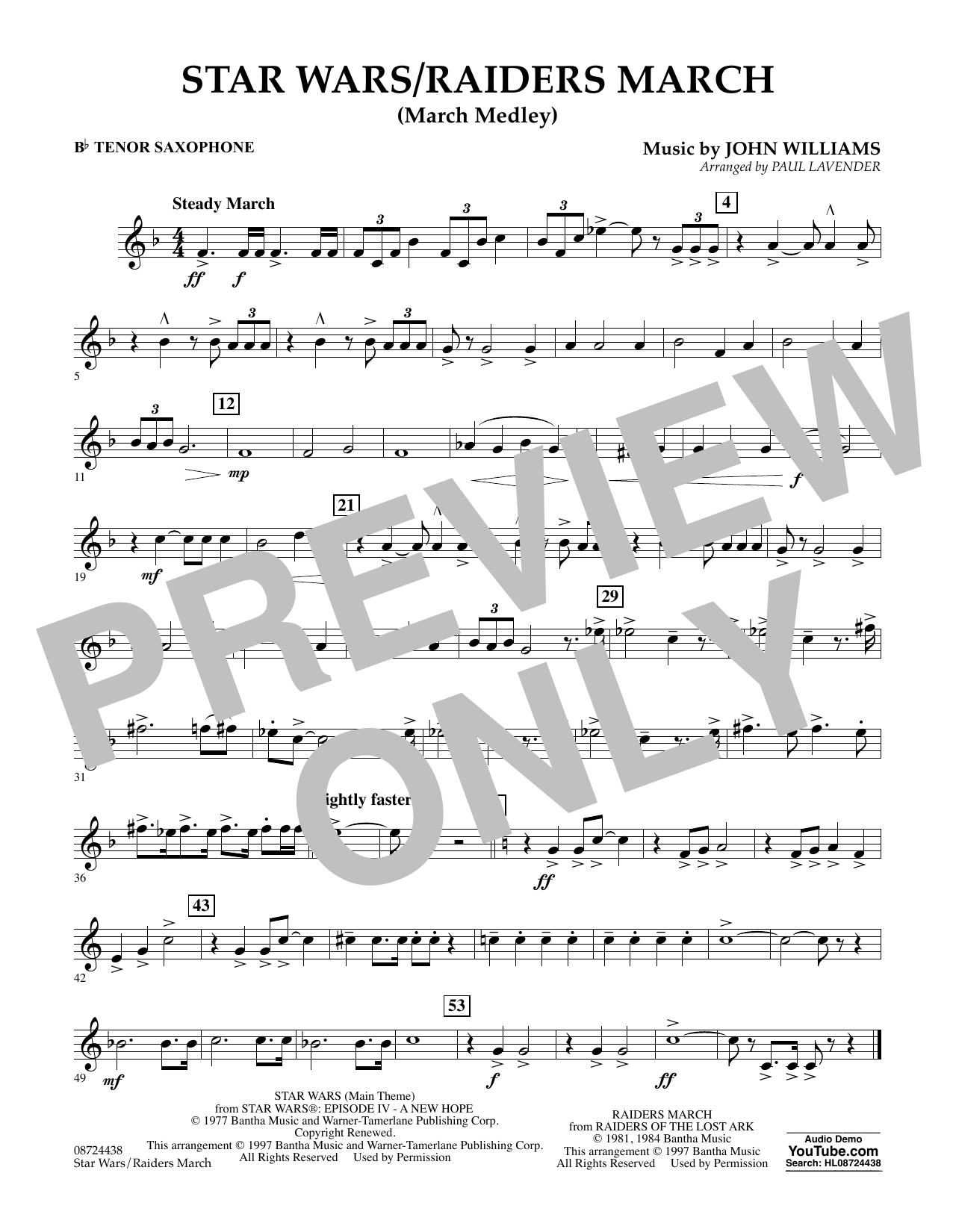 Star Wars/Raiders March - Bb Tenor Saxophone (Concert Band)