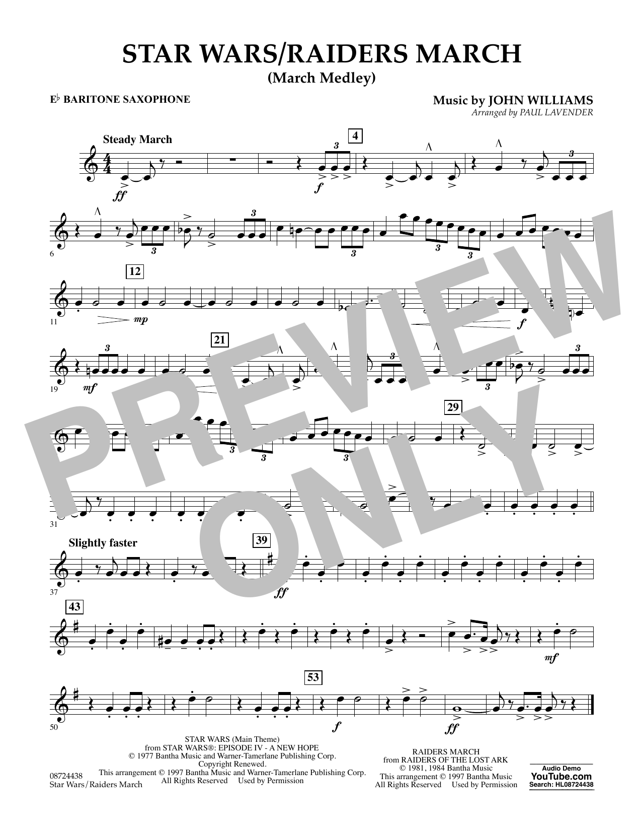 Star Wars/Raiders March - Eb Baritone Saxophone Sheet Music