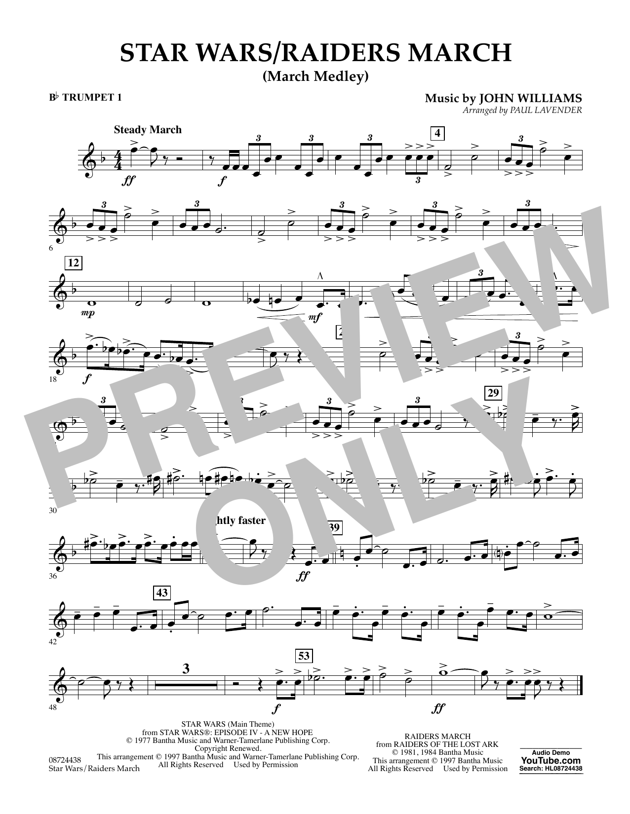 Star Wars/Raiders March - Bb Trumpet 1 Partition Digitale