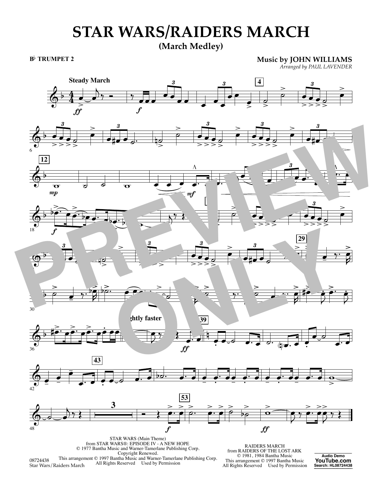 Star Wars/Raiders March - Bb Trumpet 2 Sheet Music