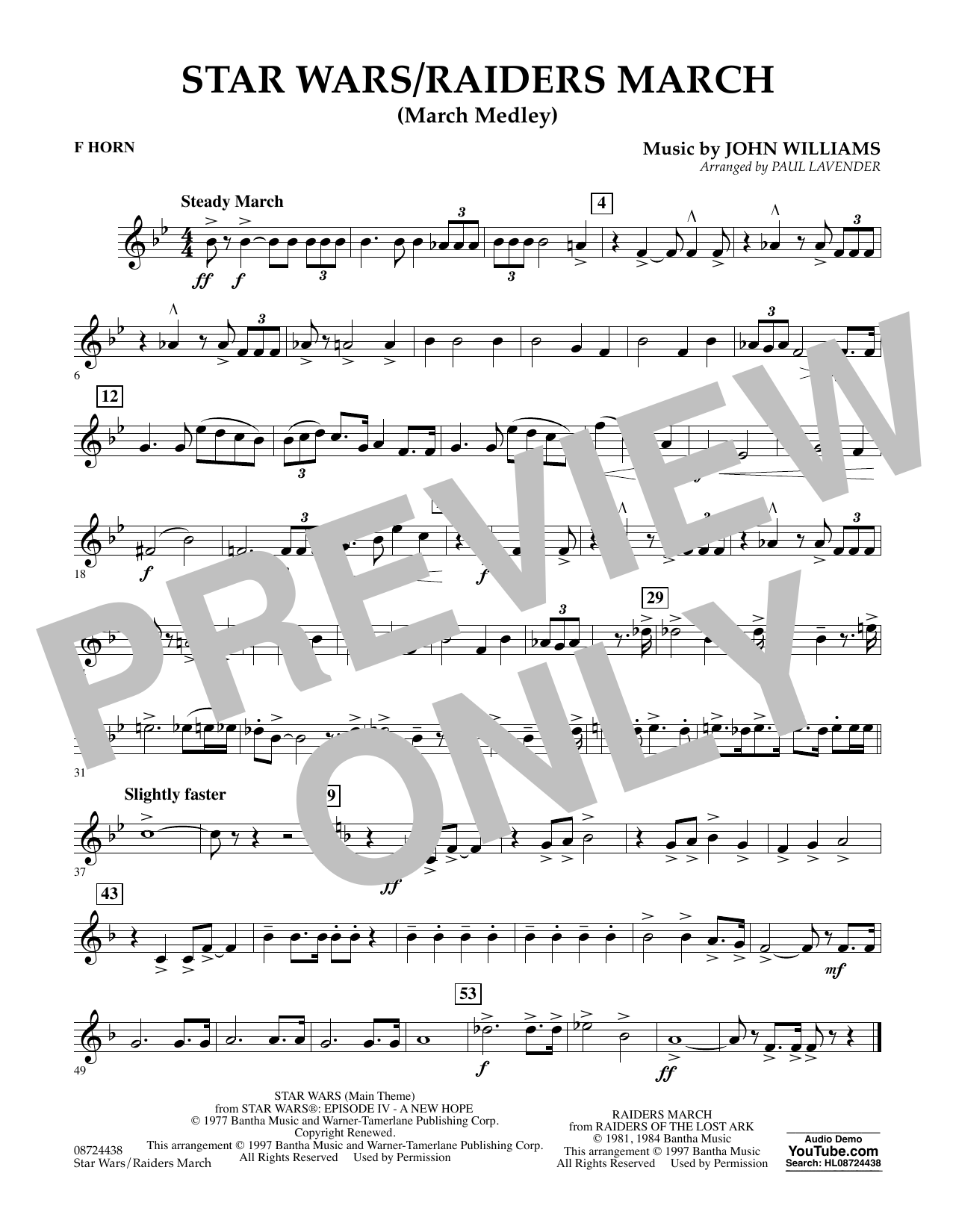 Star Wars/Raiders March - F Horn Sheet Music