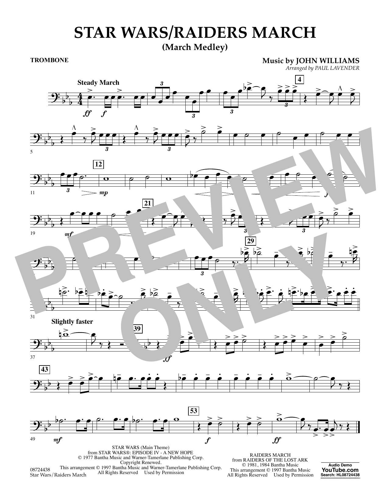 Star Wars/Raiders March - Trombone Sheet Music
