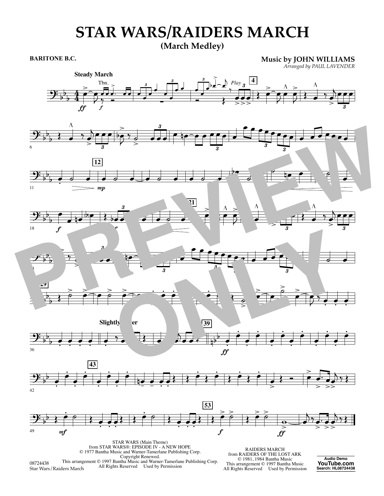Star Wars/Raiders March - Baritone B.C. Sheet Music