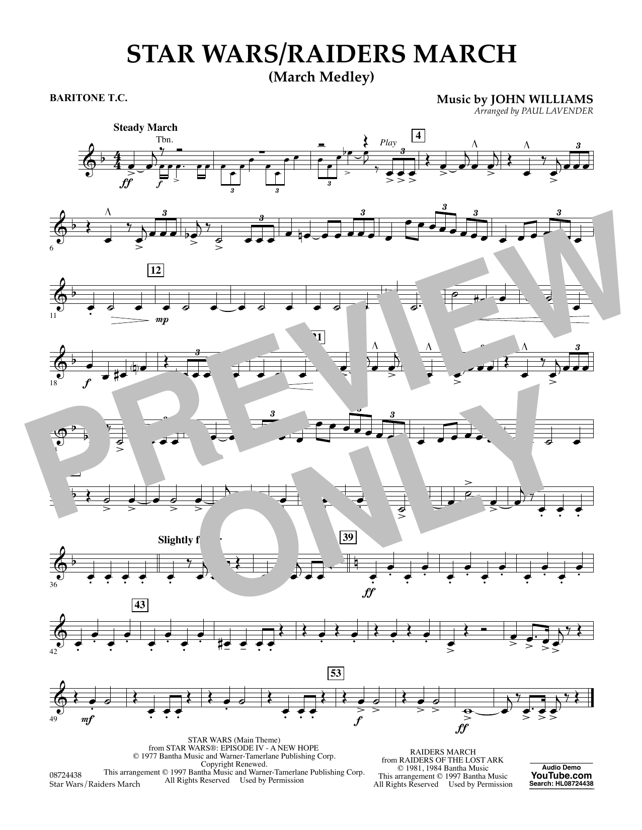 Star Wars/Raiders March - Baritone T.C. Sheet Music