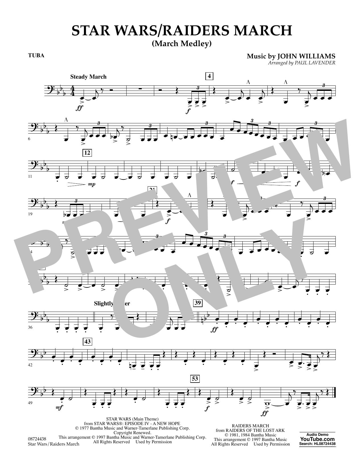 Star Wars/Raiders March - Tuba Sheet Music