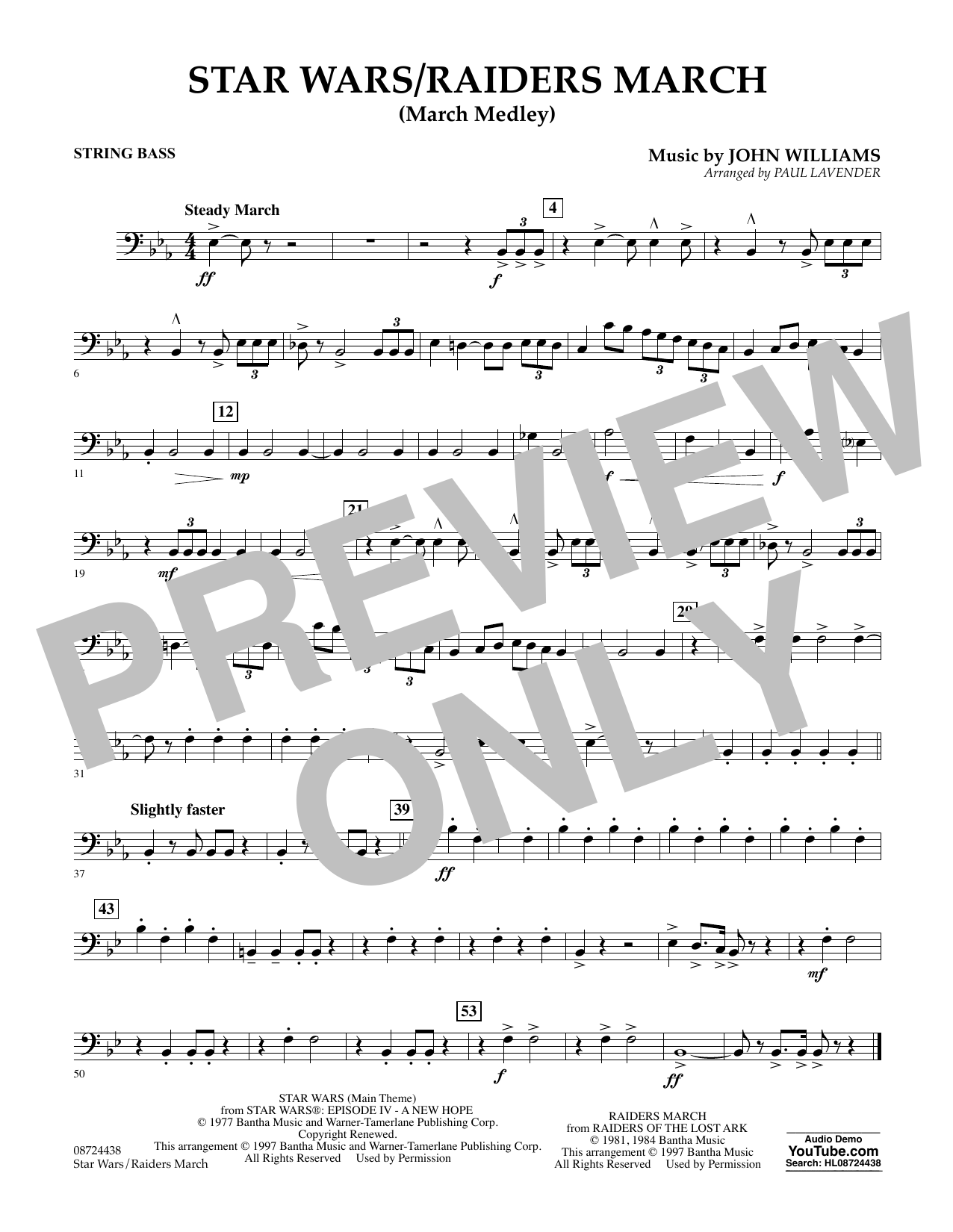 Star Wars/Raiders March - String Bass Sheet Music