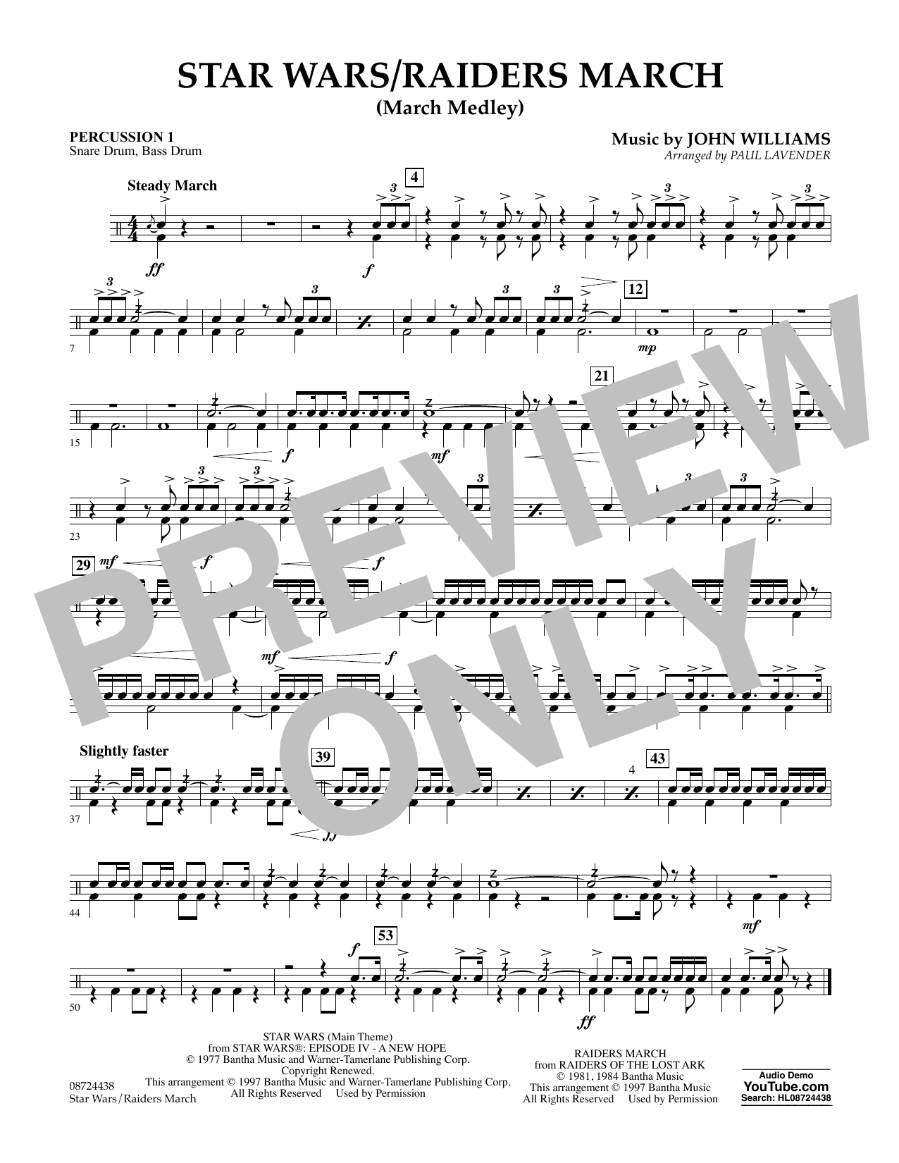 Star Wars/Raiders March - Percussion 1 Sheet Music