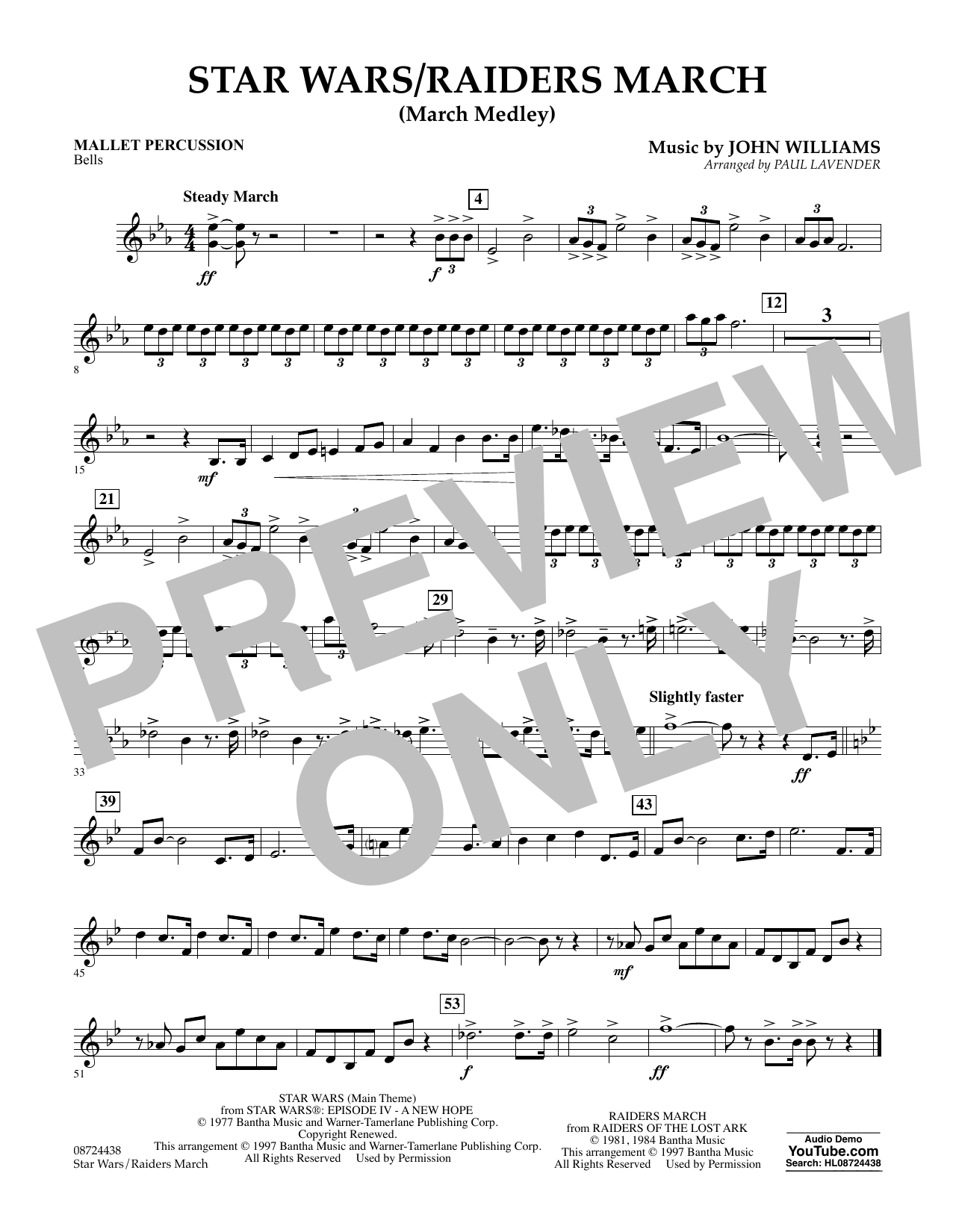 Star Wars/Raiders March - Mallet Percussion Sheet Music