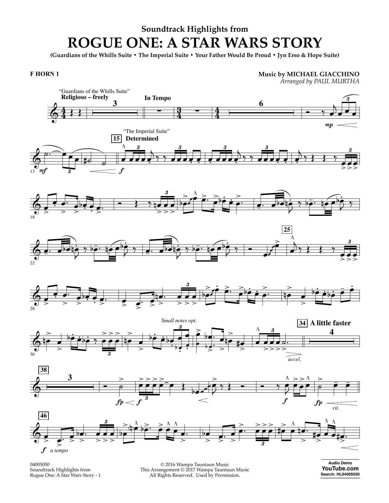 Rogue One: A Star Wars Story - F Horn 1 Sheet Music