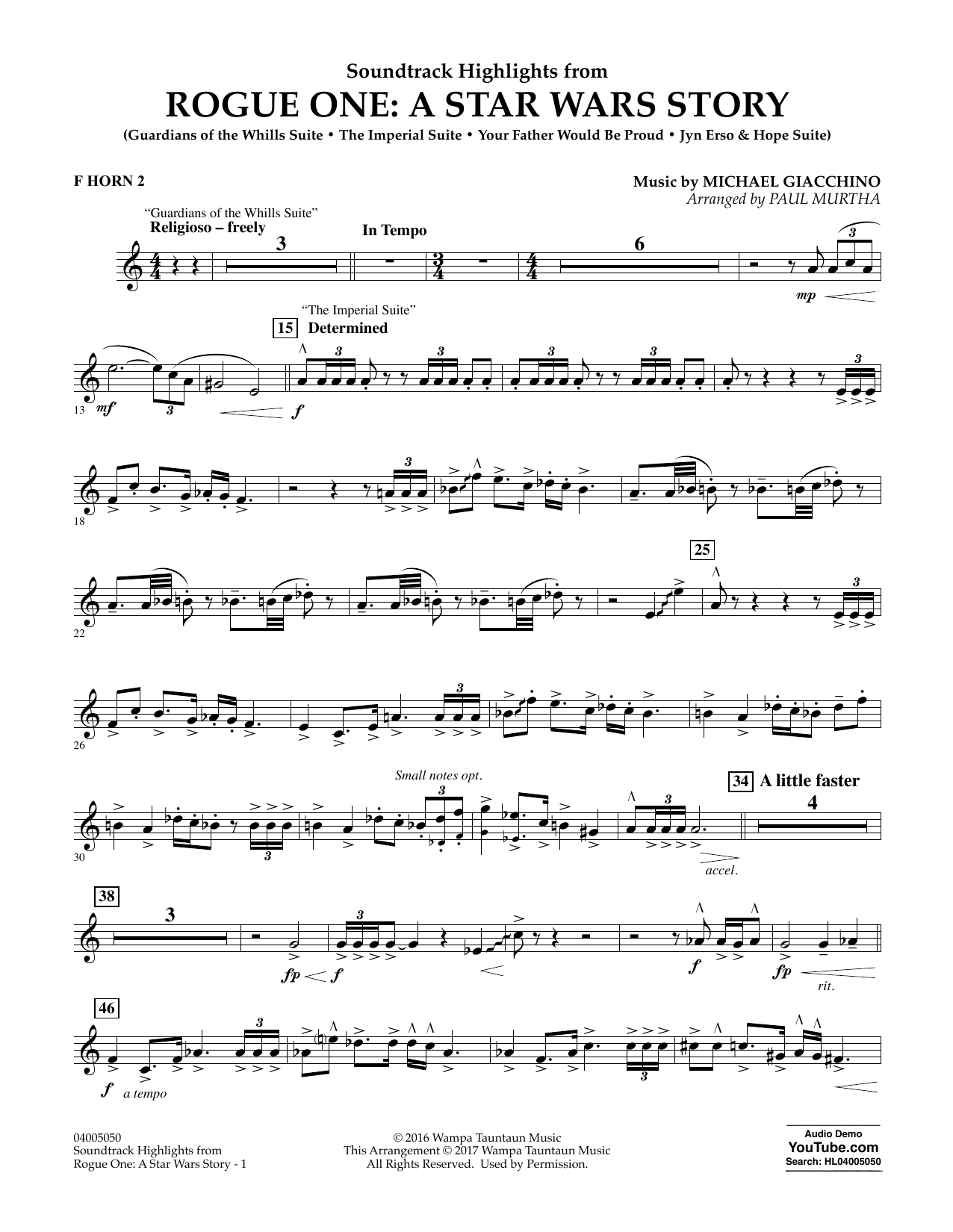 Rogue One: A Star Wars Story - F Horn 2 Sheet Music