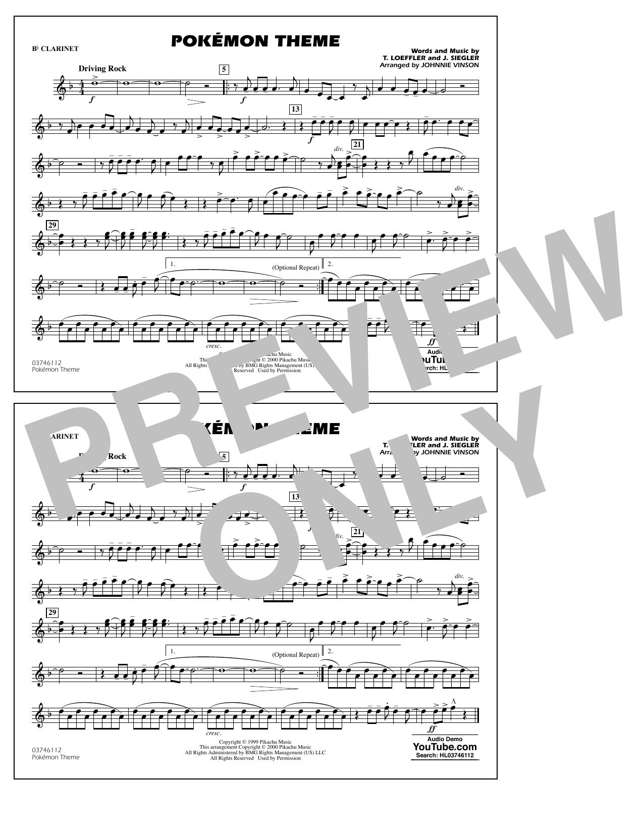 Pokémon Theme - Bb Clarinet Sheet Music
