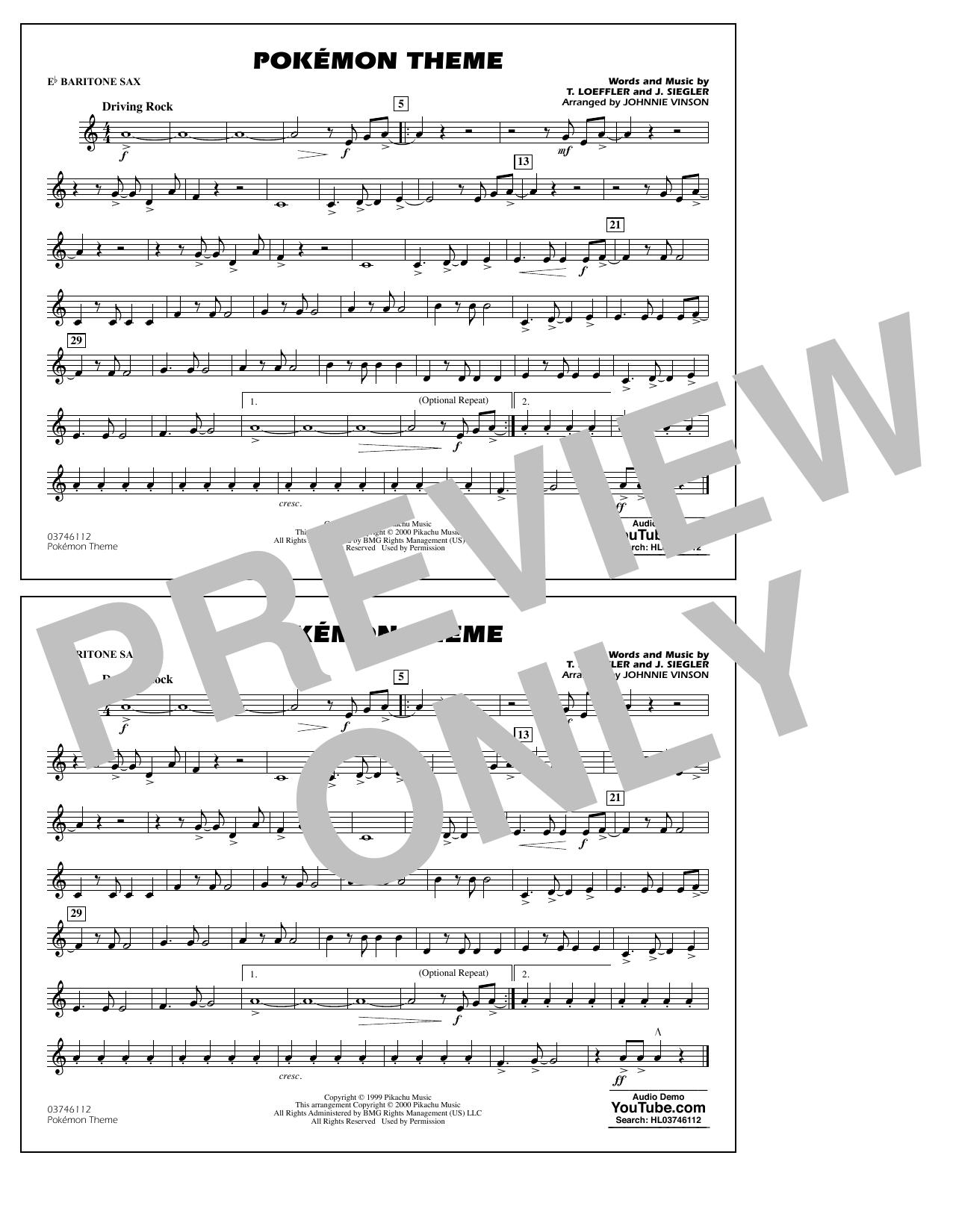 Pokémon Theme - Eb Baritone Sax Sheet Music