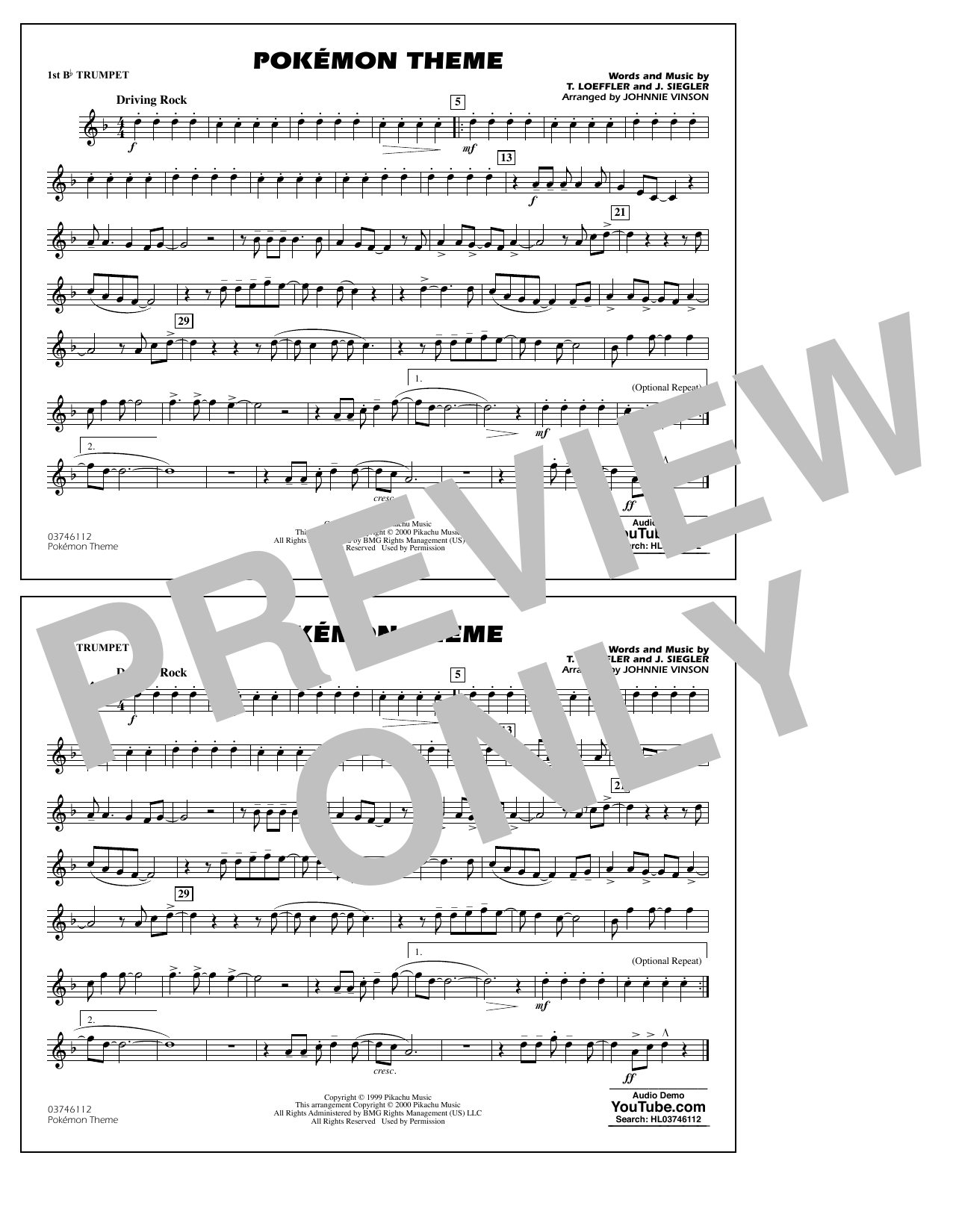 Pokémon Theme - 1st Bb Trumpet Sheet Music