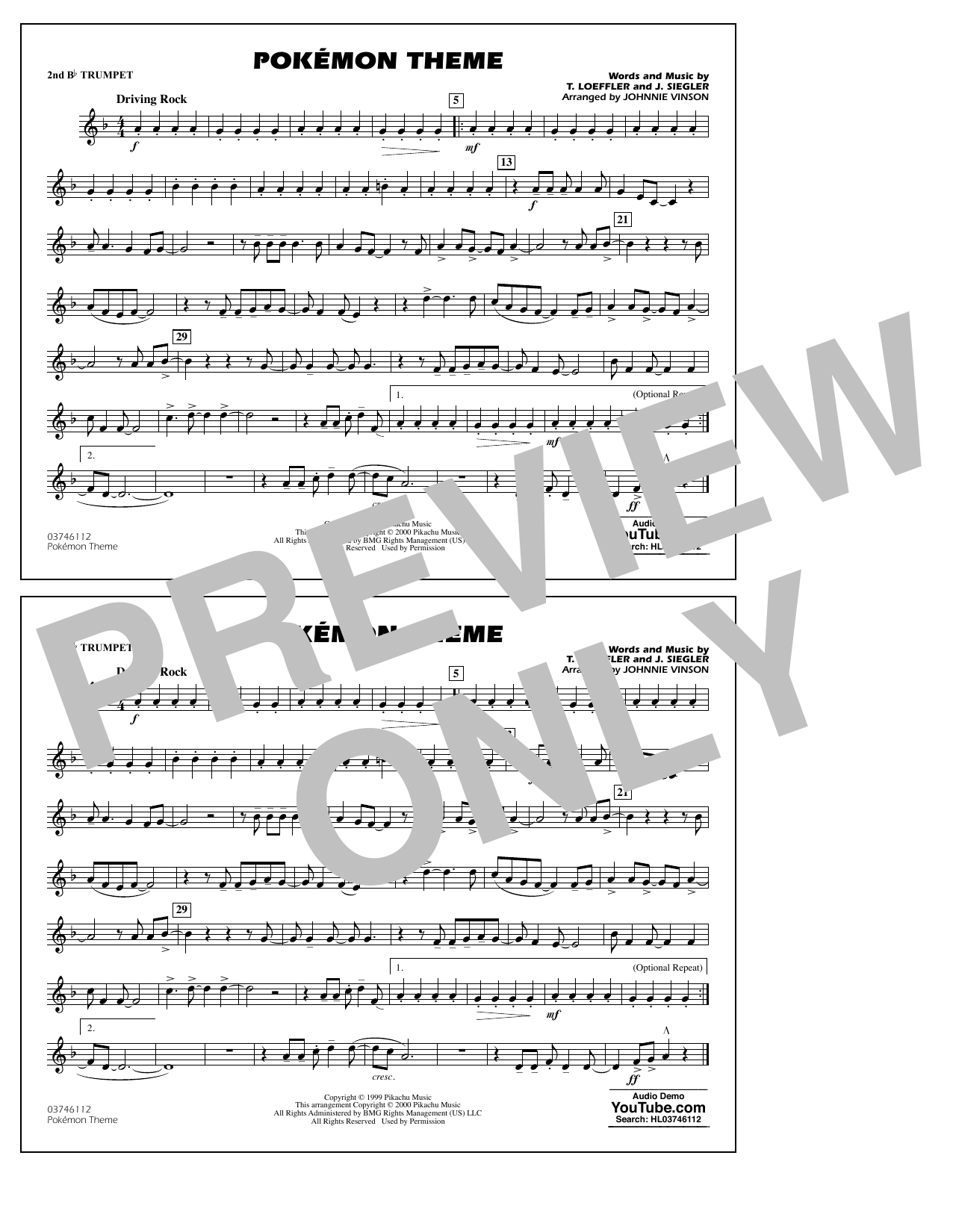 Pokémon Theme - 2nd Bb Trumpet Sheet Music