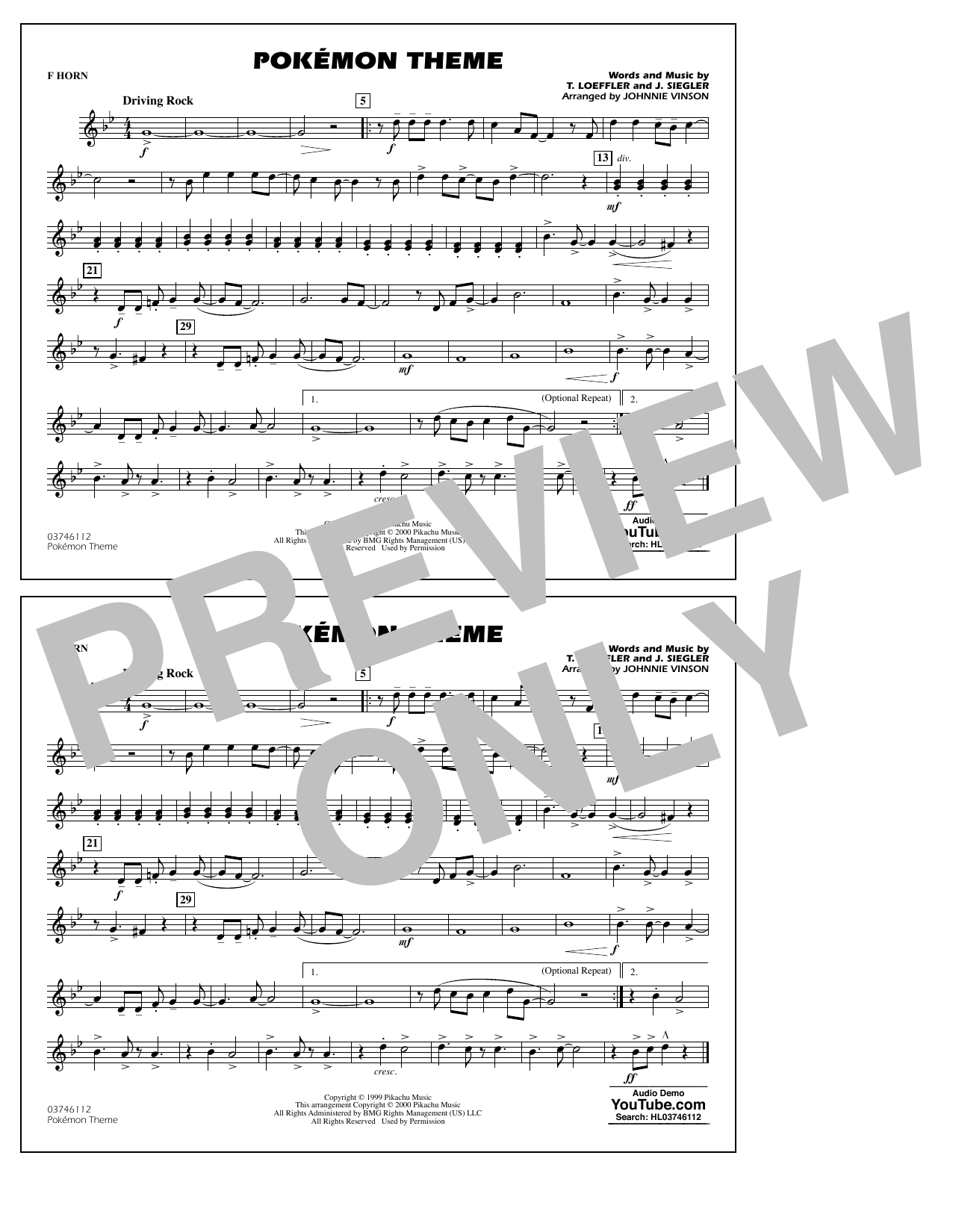 Pokémon Theme - F Horn Sheet Music