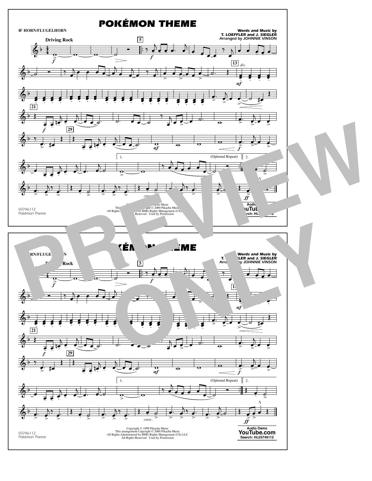 Pokémon Theme - Bb Horn/Flugelhorn Sheet Music