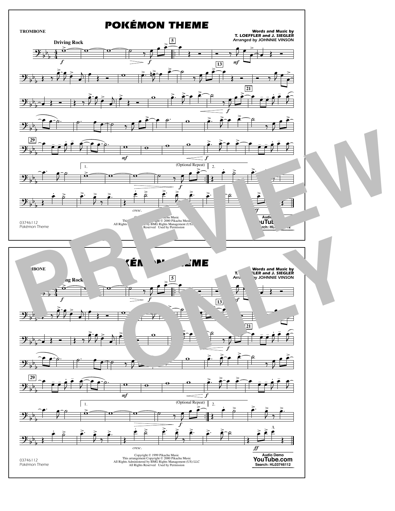 Pokémon Theme - Trombone Sheet Music