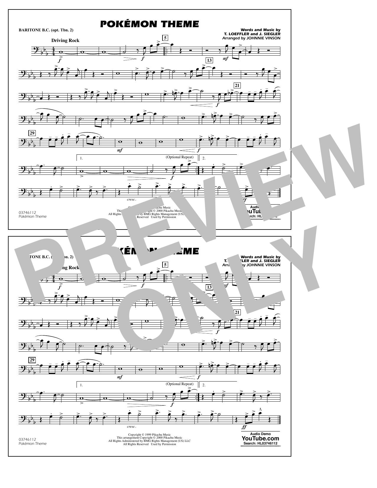 Pokémon Theme - Baritone B.C. (Opt. Tbn. 2) Sheet Music