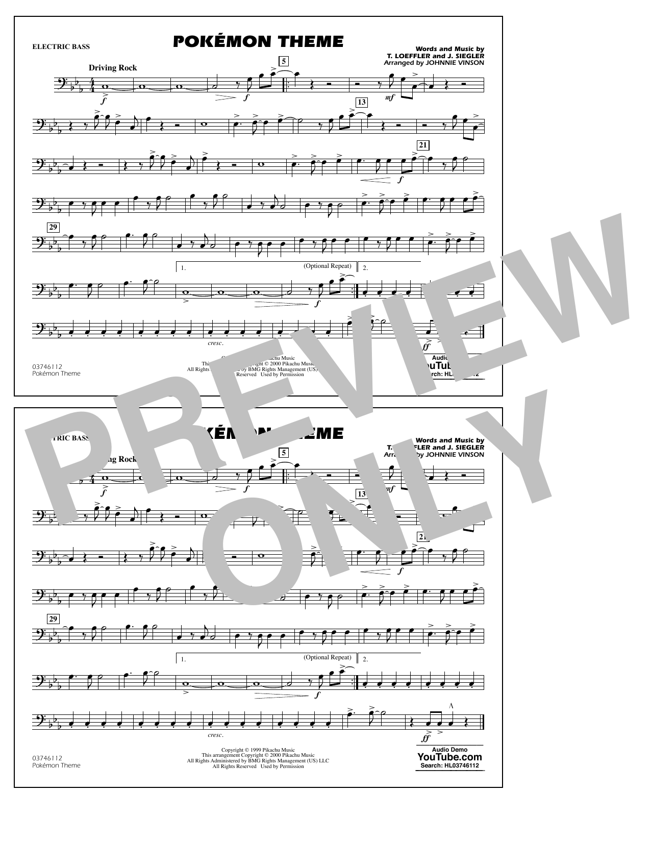 Pokémon Theme - Electric Bass Sheet Music