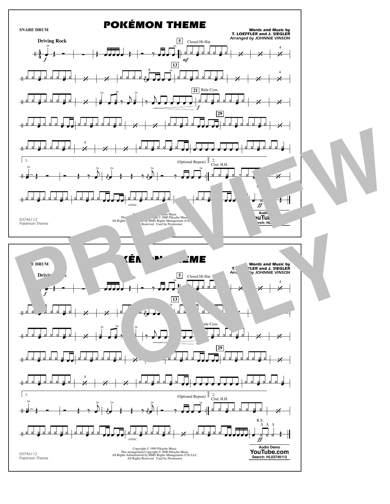 Pokémon Theme - Snare Drum Sheet Music