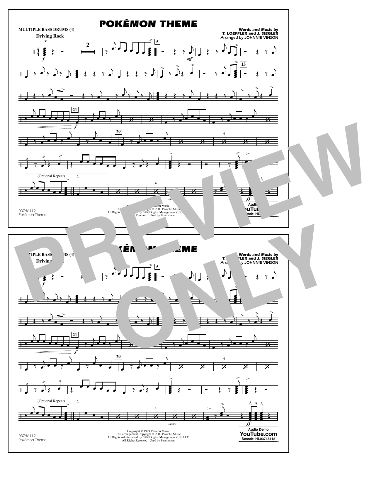 Pokémon Theme - Multiple Bass Drums Sheet Music