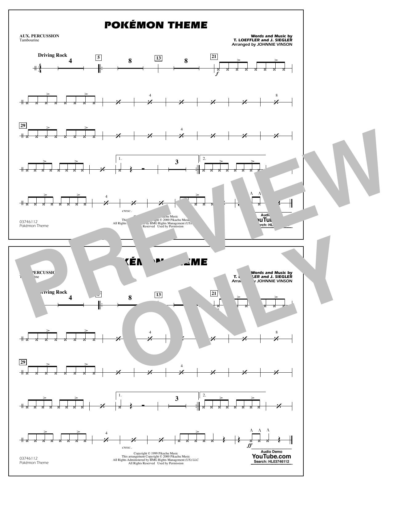 Pokémon Theme - Aux Percussion Sheet Music